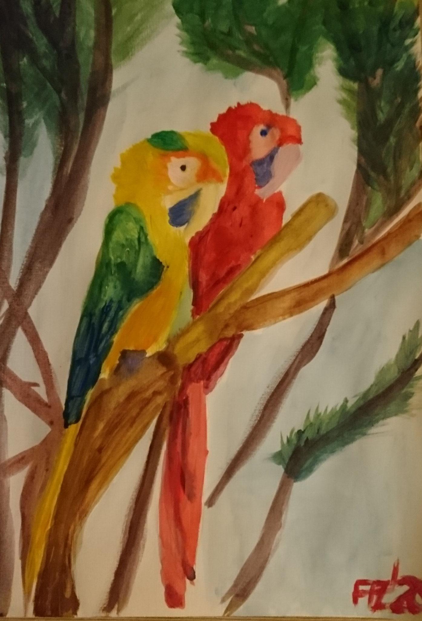 Papageien, Acryl, A3