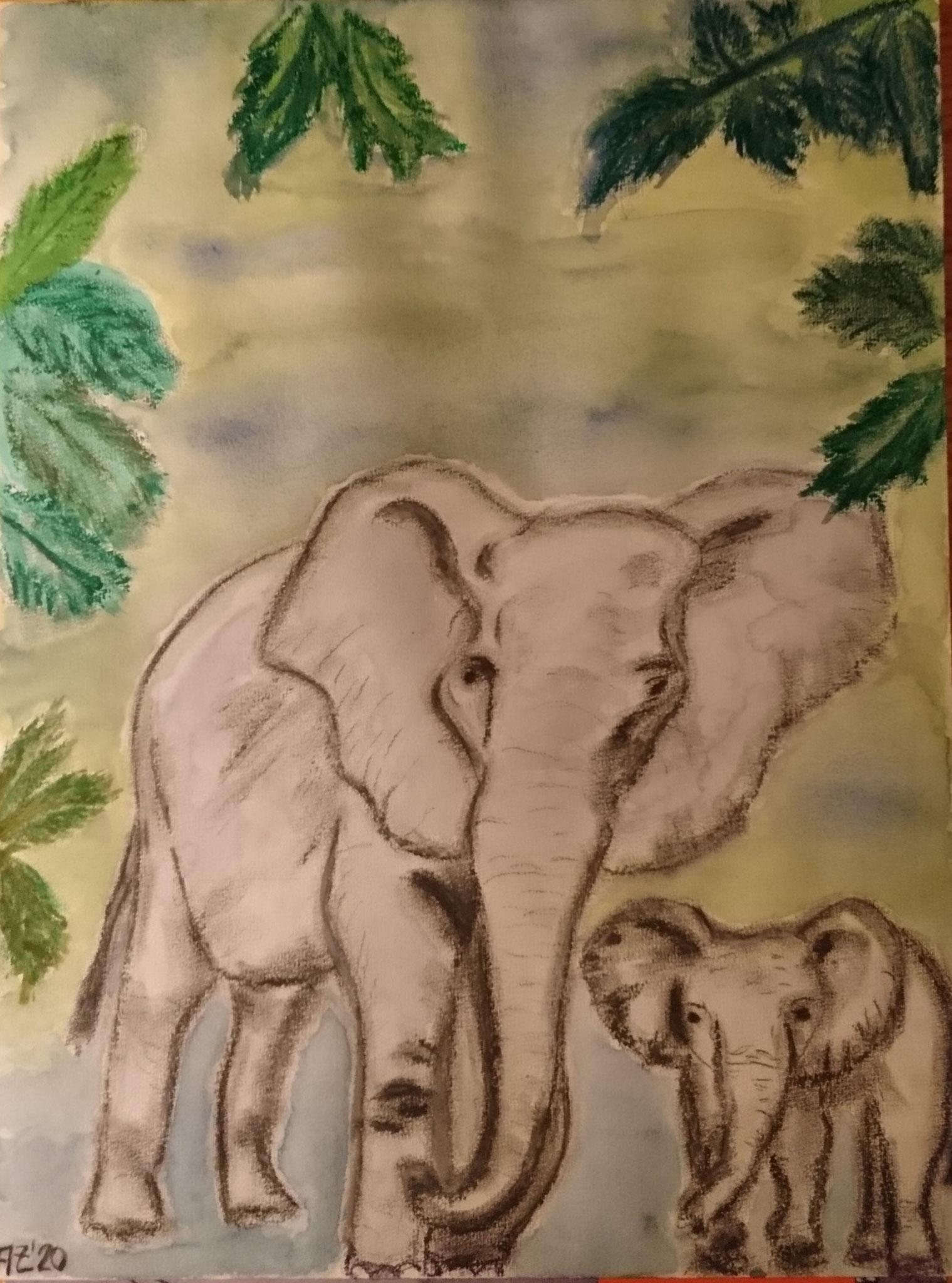 Elefanten, Mischtechnik, A3