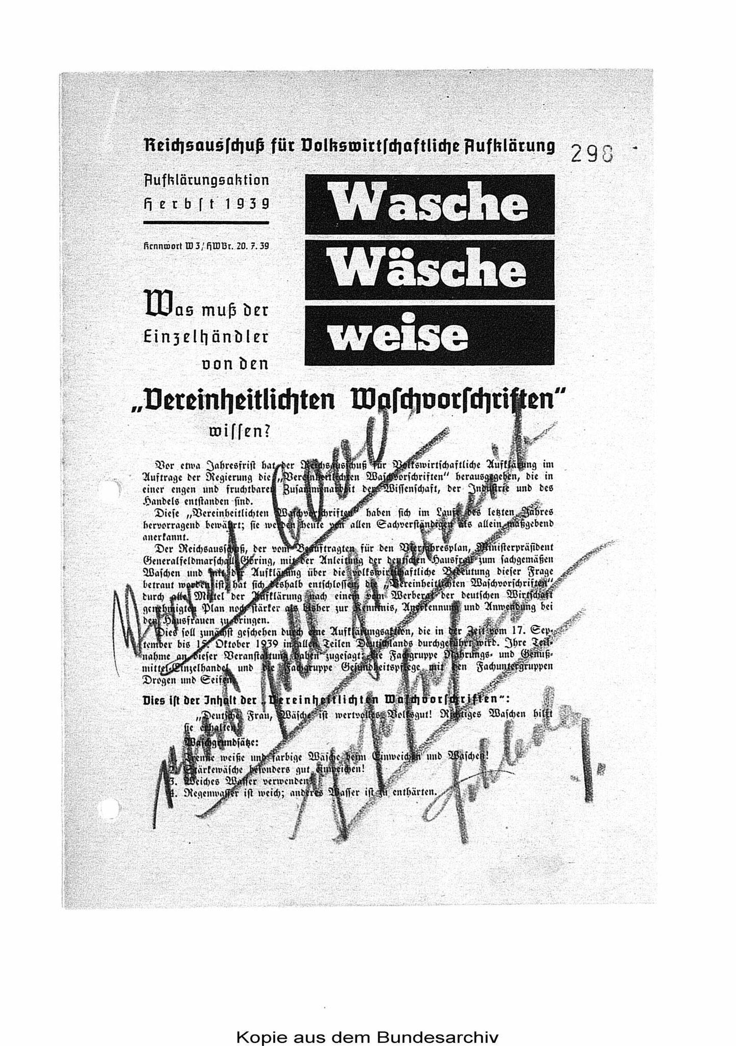 Waschvorschriften - Info für Einzelhändler August 1939. BArch R5002/46.