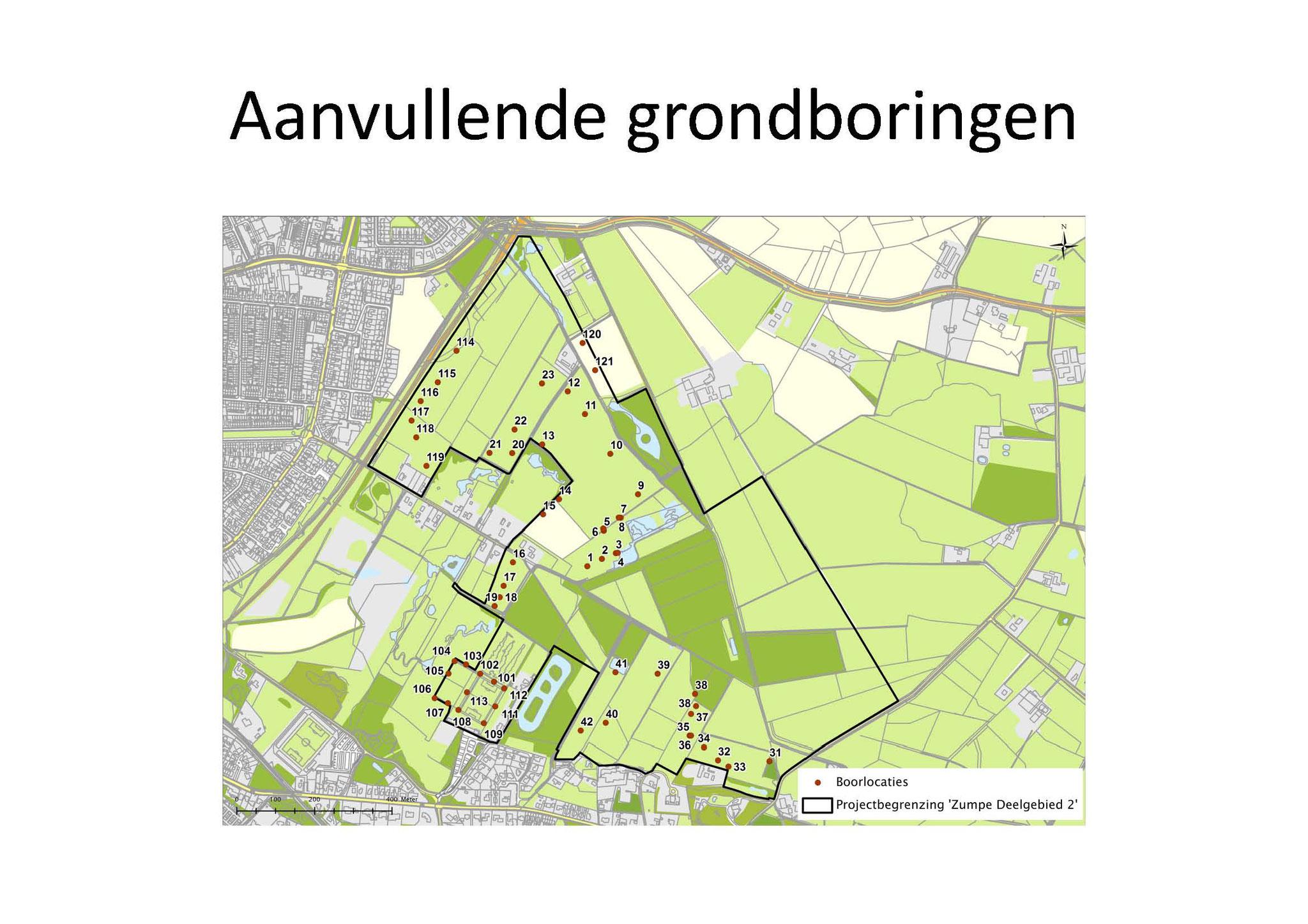 Omdat lokaal de voedselrijke bovengrond zal worden afgegraven, waren extra grondboringen nodig.