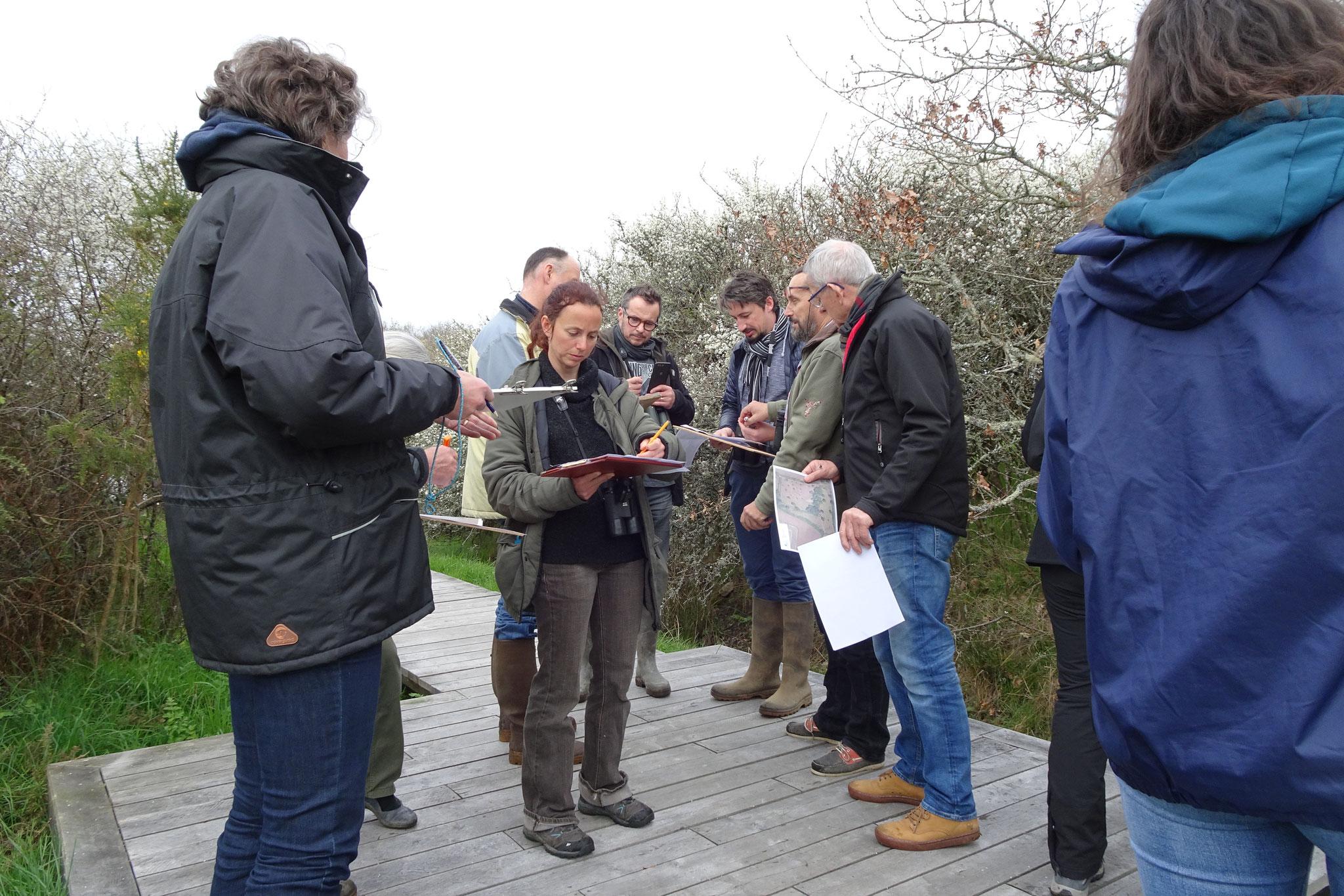 En sous-groupe, les participants s'entrainent à localiser les individus et à renseigner la fiche terrain.