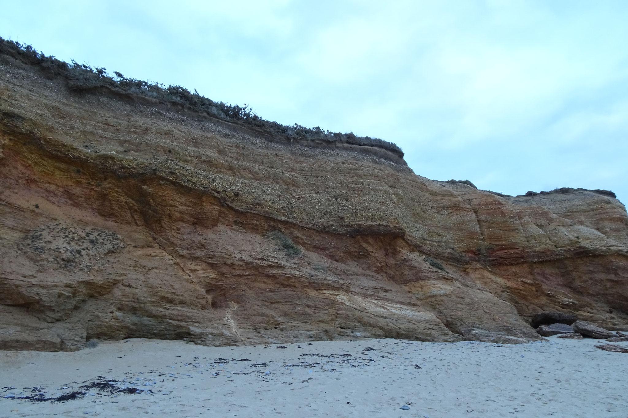 Falaises de la plage de la Mine d'Or à Pénestin
