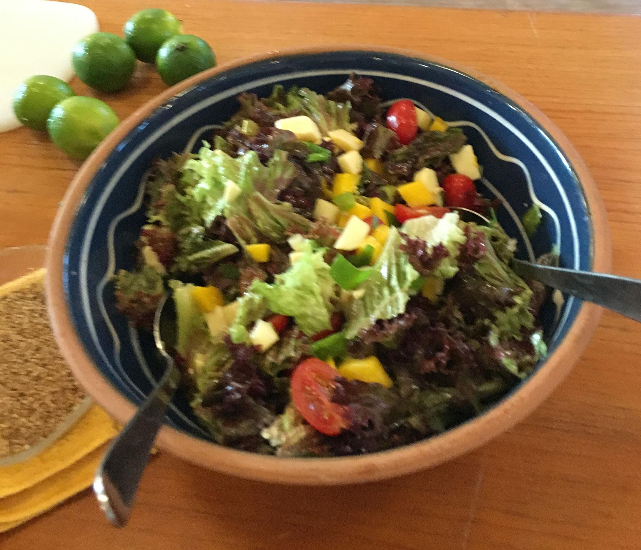 ein leckerer Lollo-Rosso-Salat mit Käse