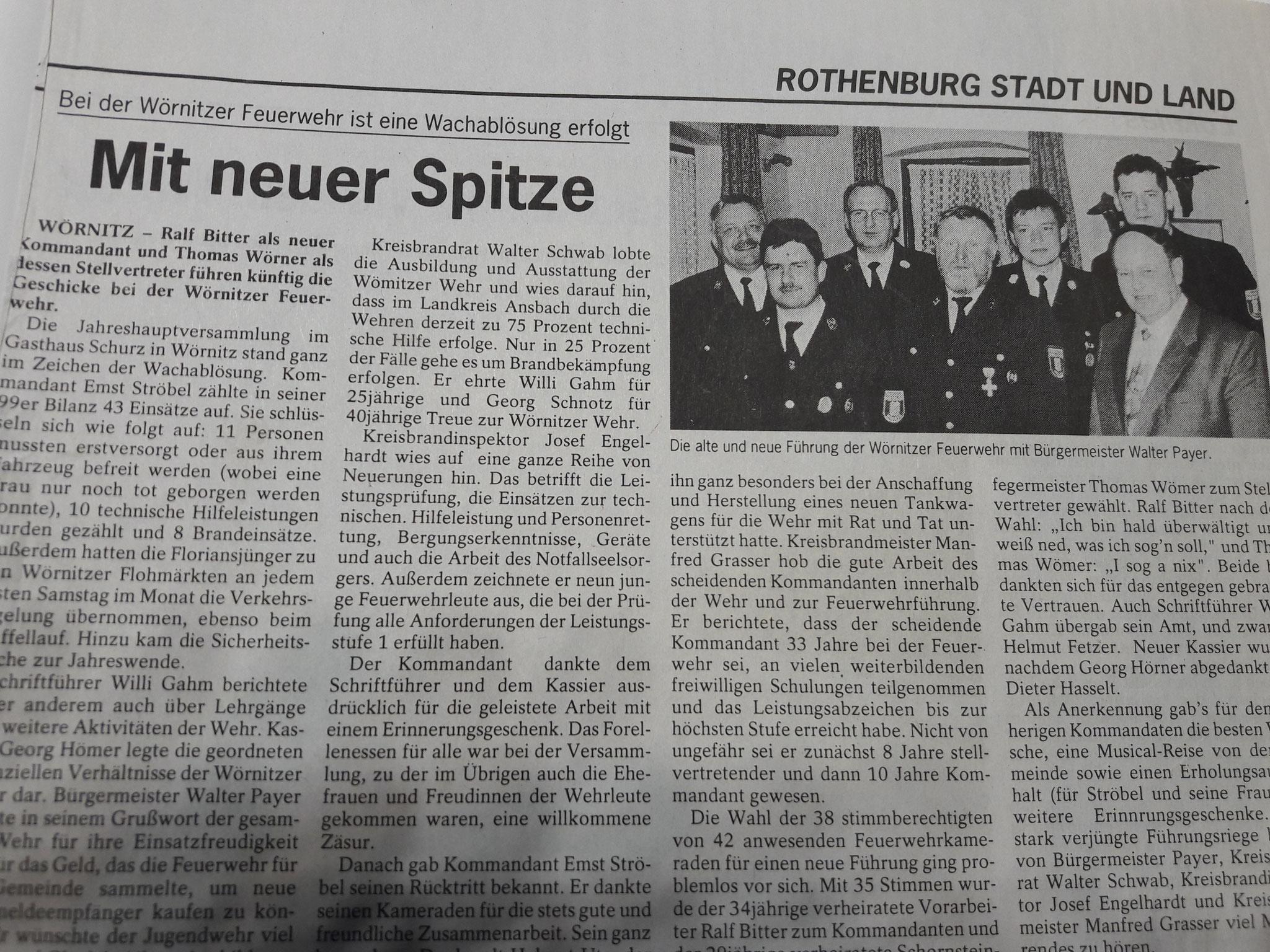 Zeitungsbericht zur Amtsübergabe