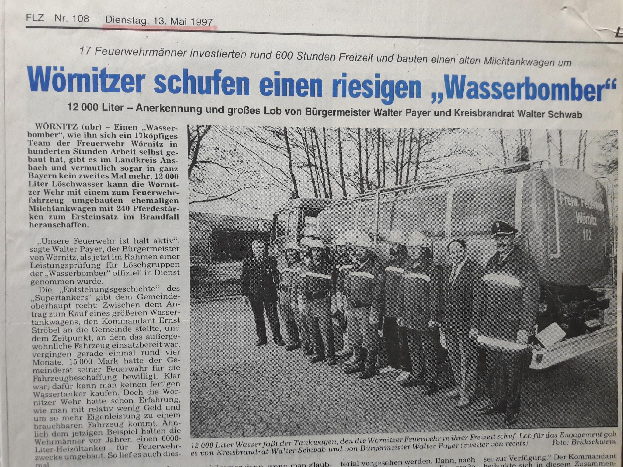 1997: Umbau vom Milchtanker zum Feuerwehrfahrzeug