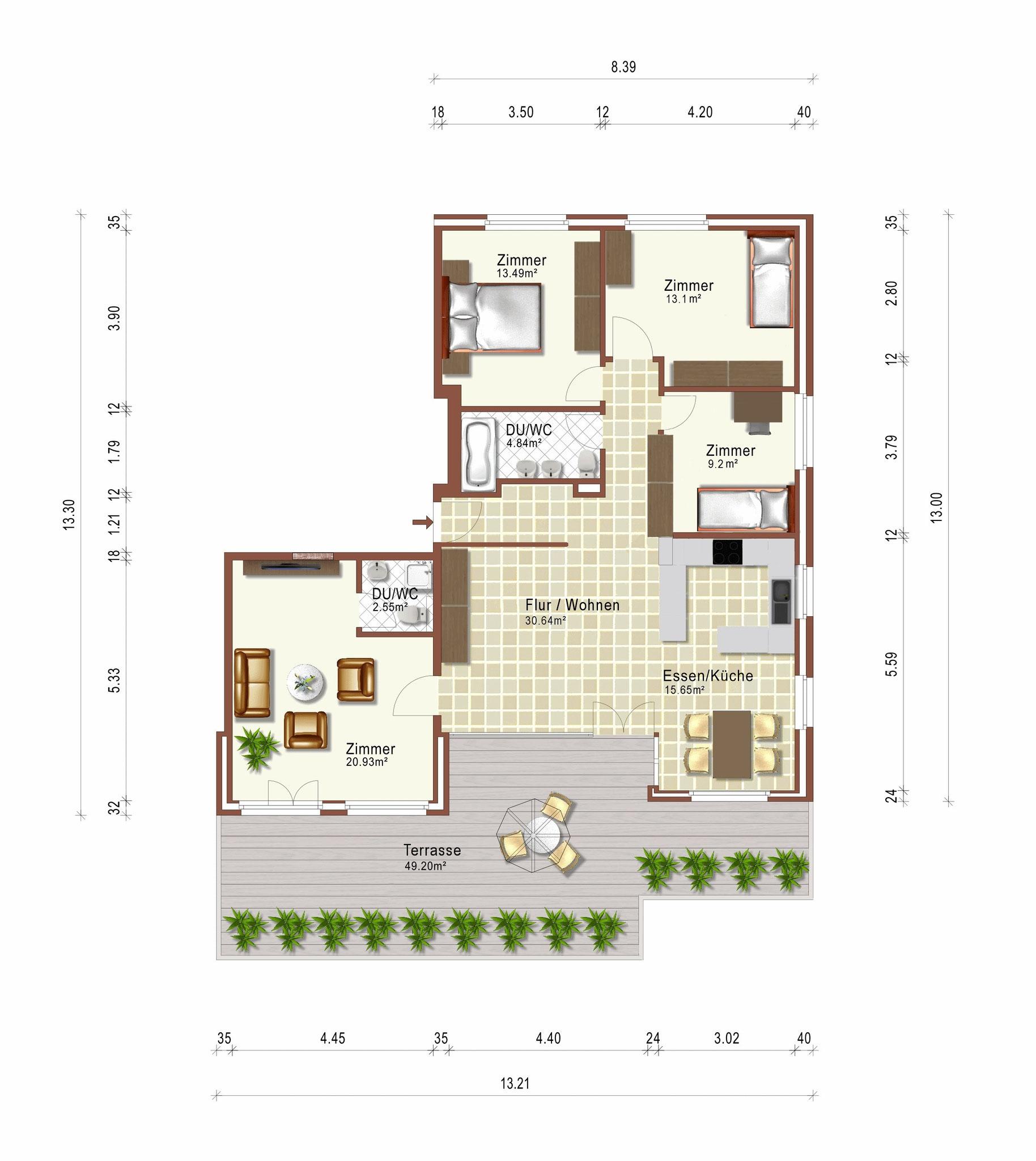 Grundriss Wohnung 2D
