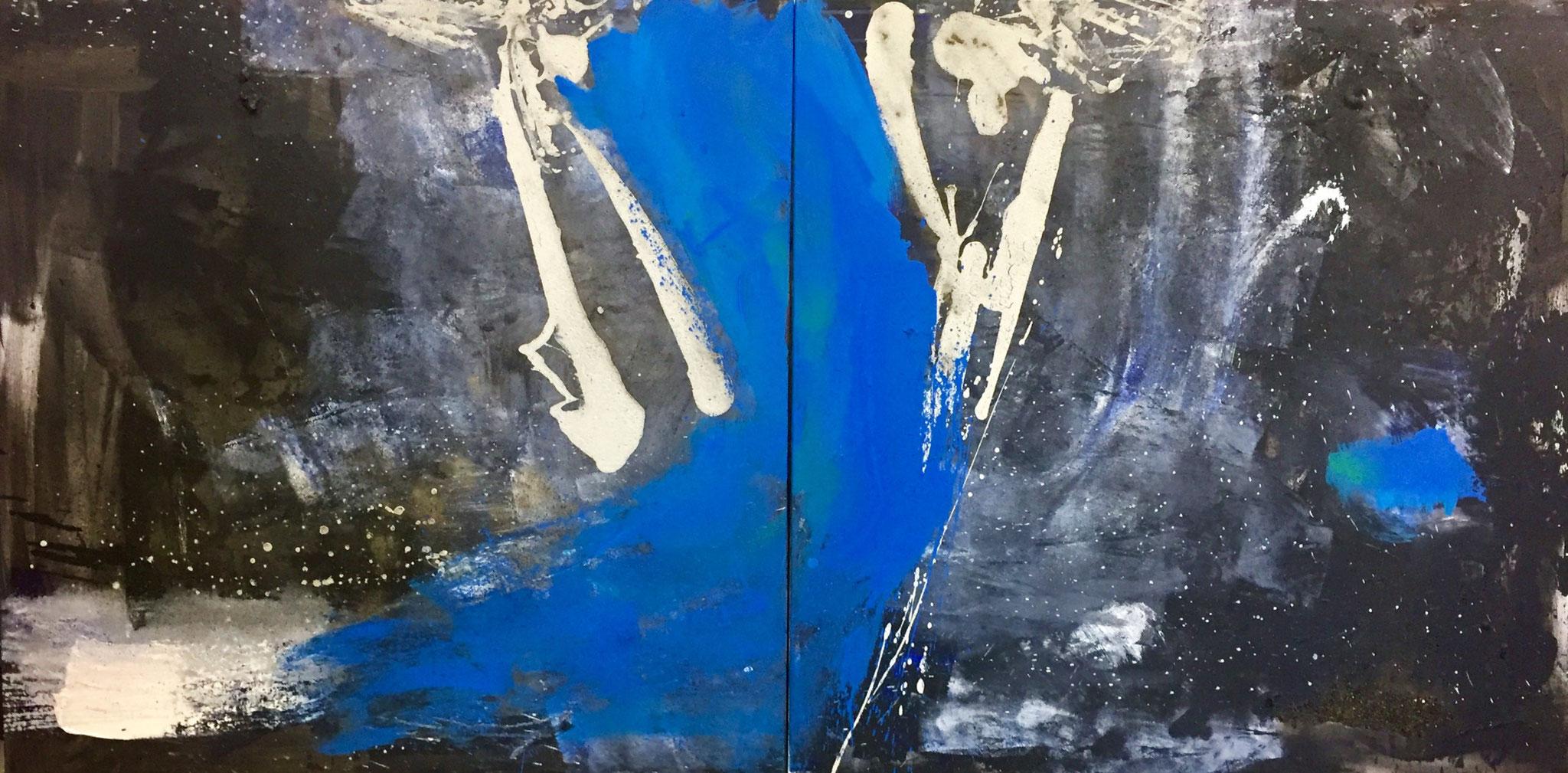 Alles im Fluss, Acryl auf Leinwand, 2x100cmx100cm