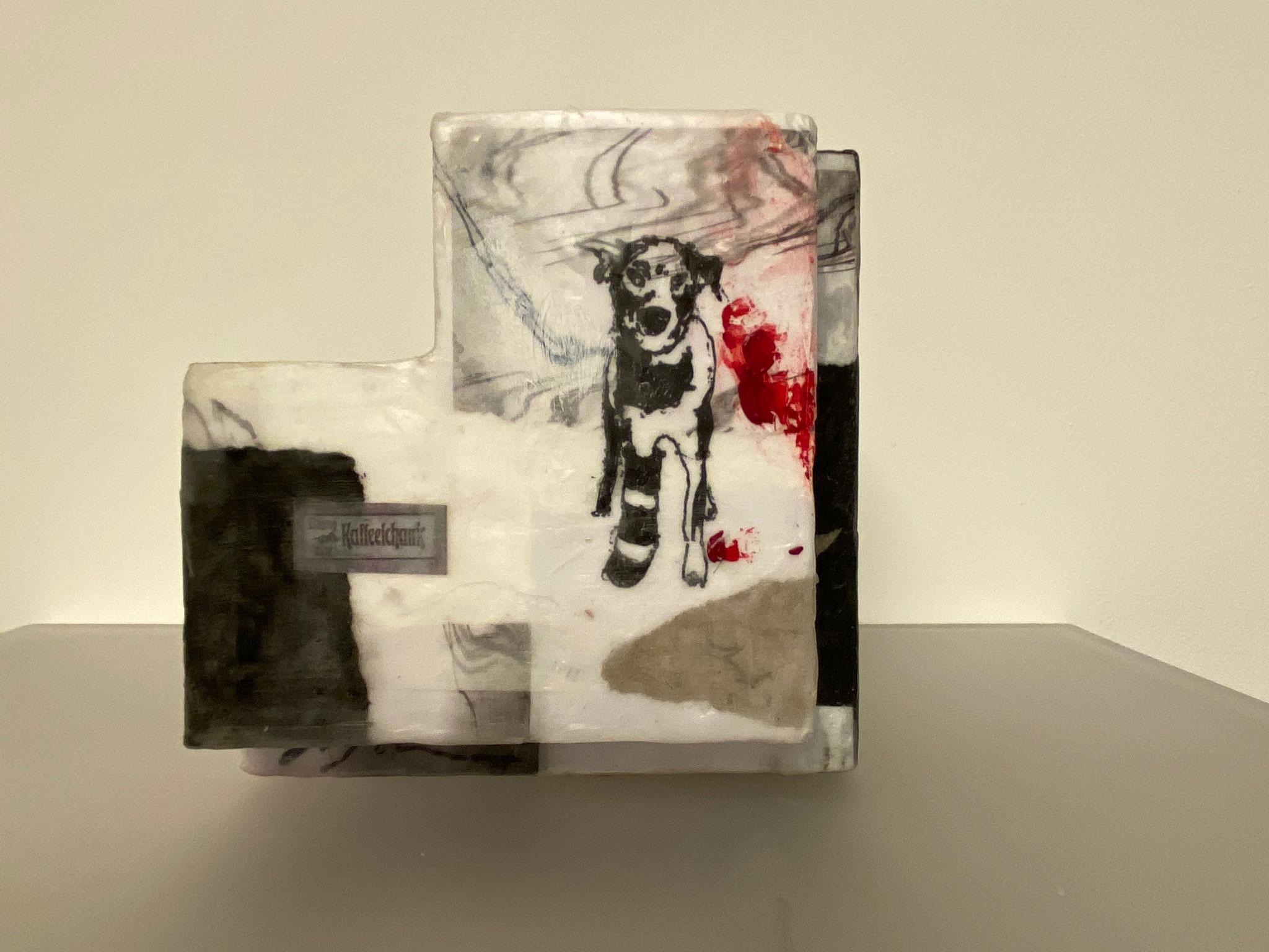 Hund, Objekt mit Wachsfinish, 16x16x13cm
