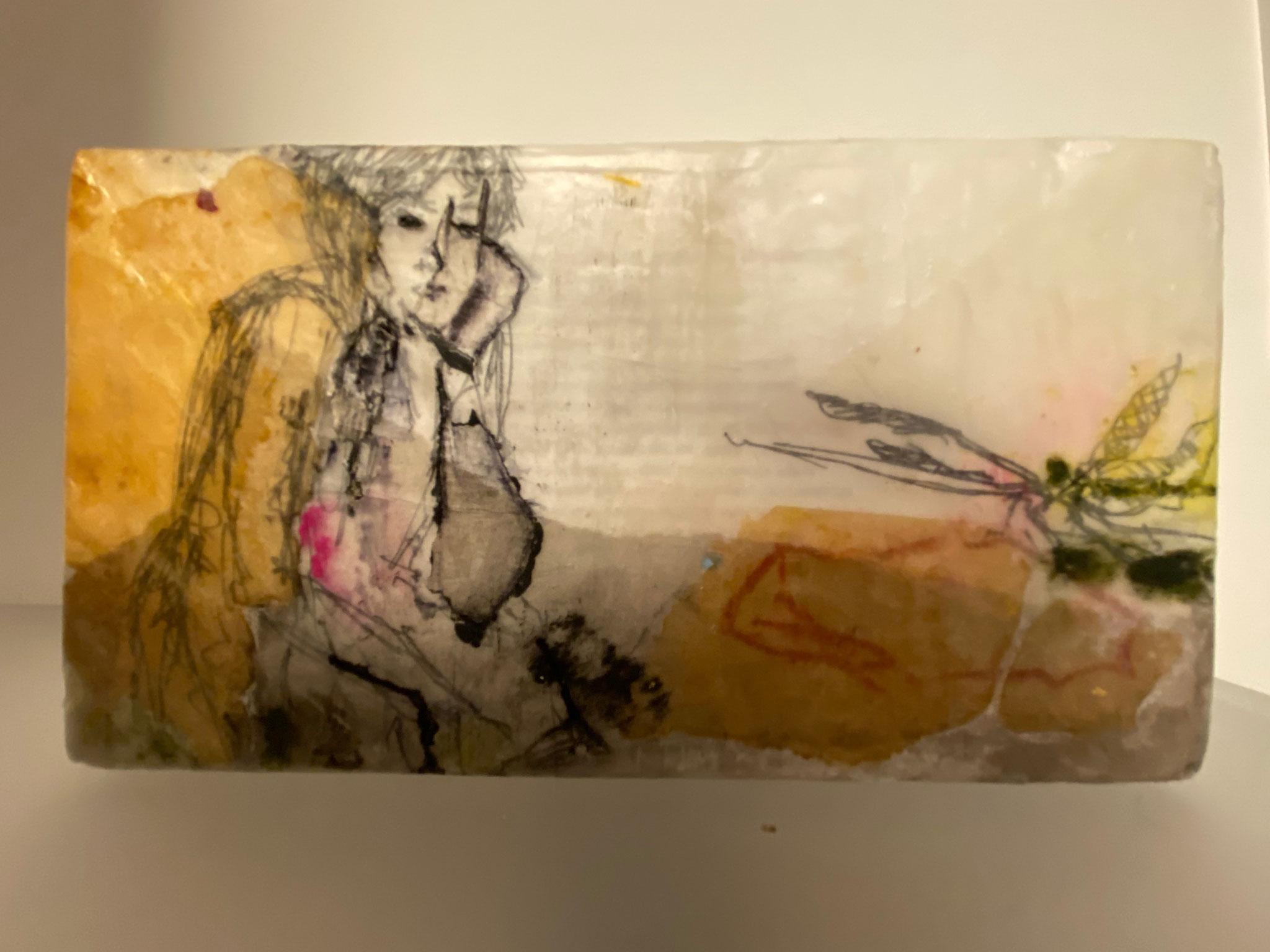 Libelle, Objekt mit Wachsfinish, 11x20x5 cm