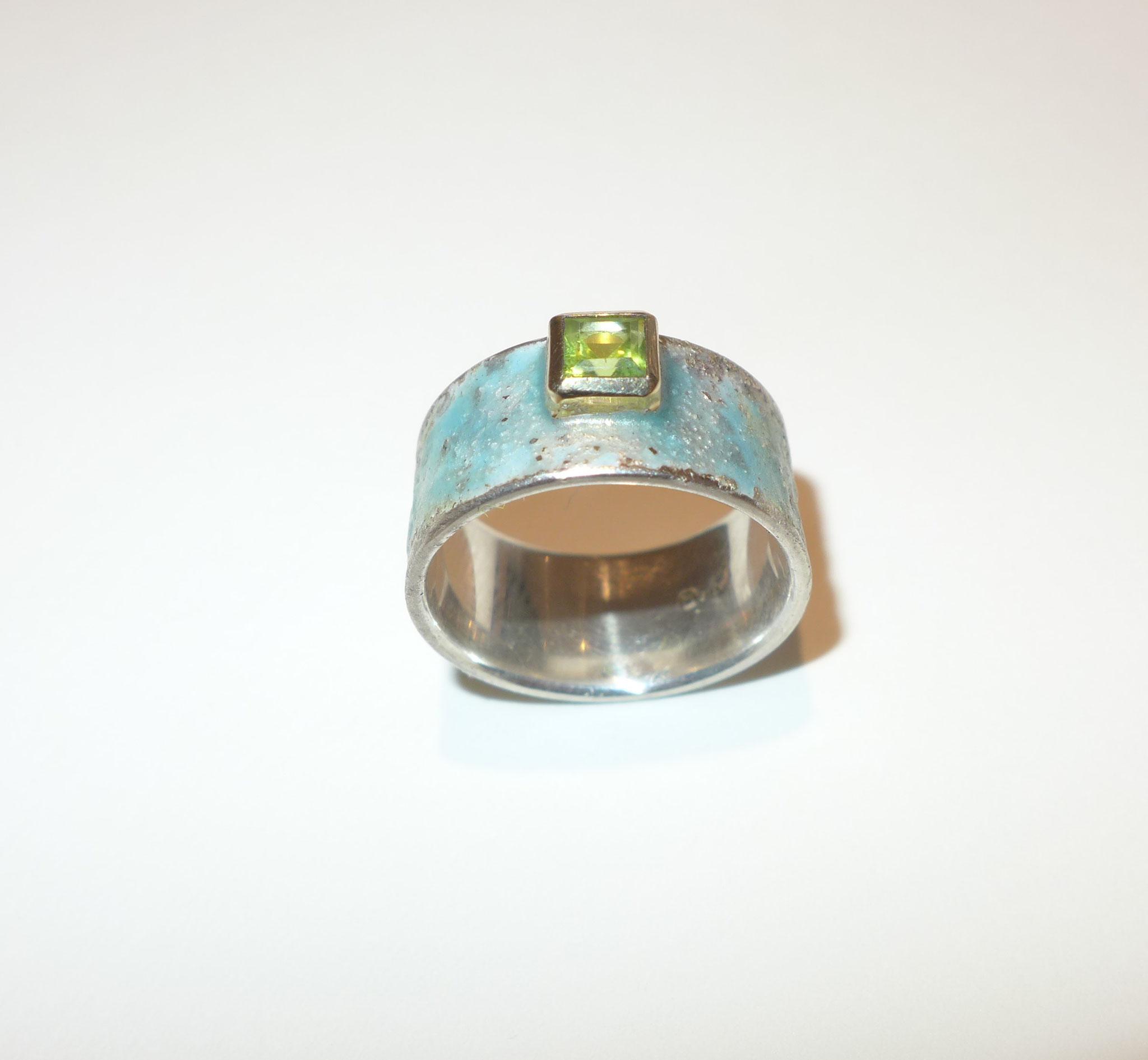 sterling silver, enamel, peridot