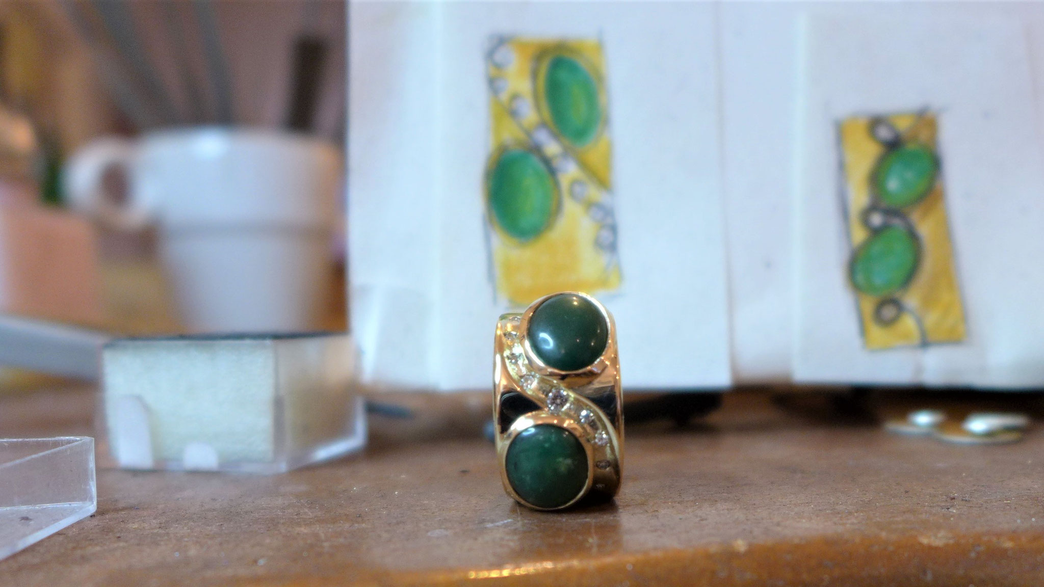 Ring made from recycled gold and customer owned gems