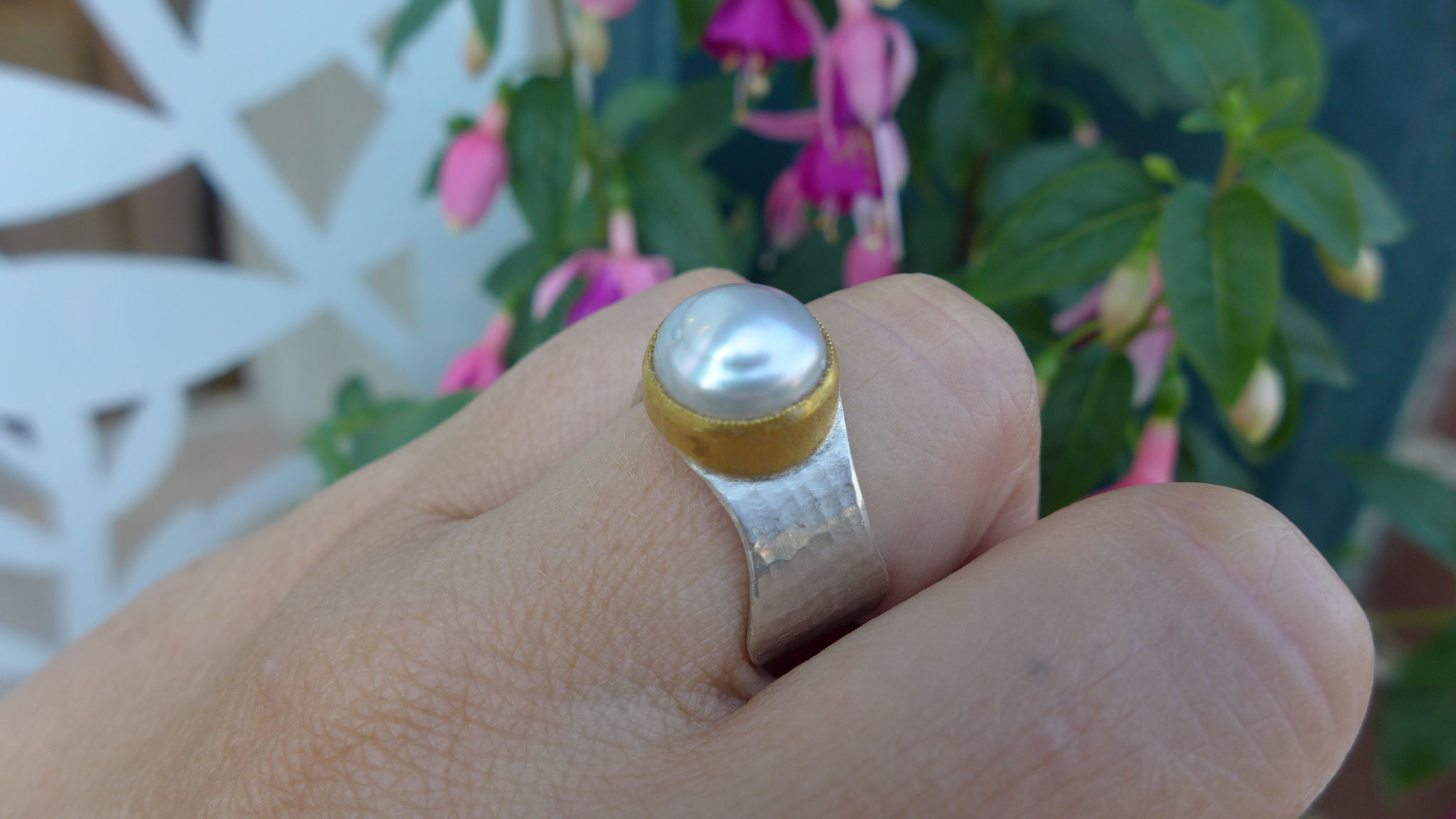 sterling silver, 24k gold, south sea pearl