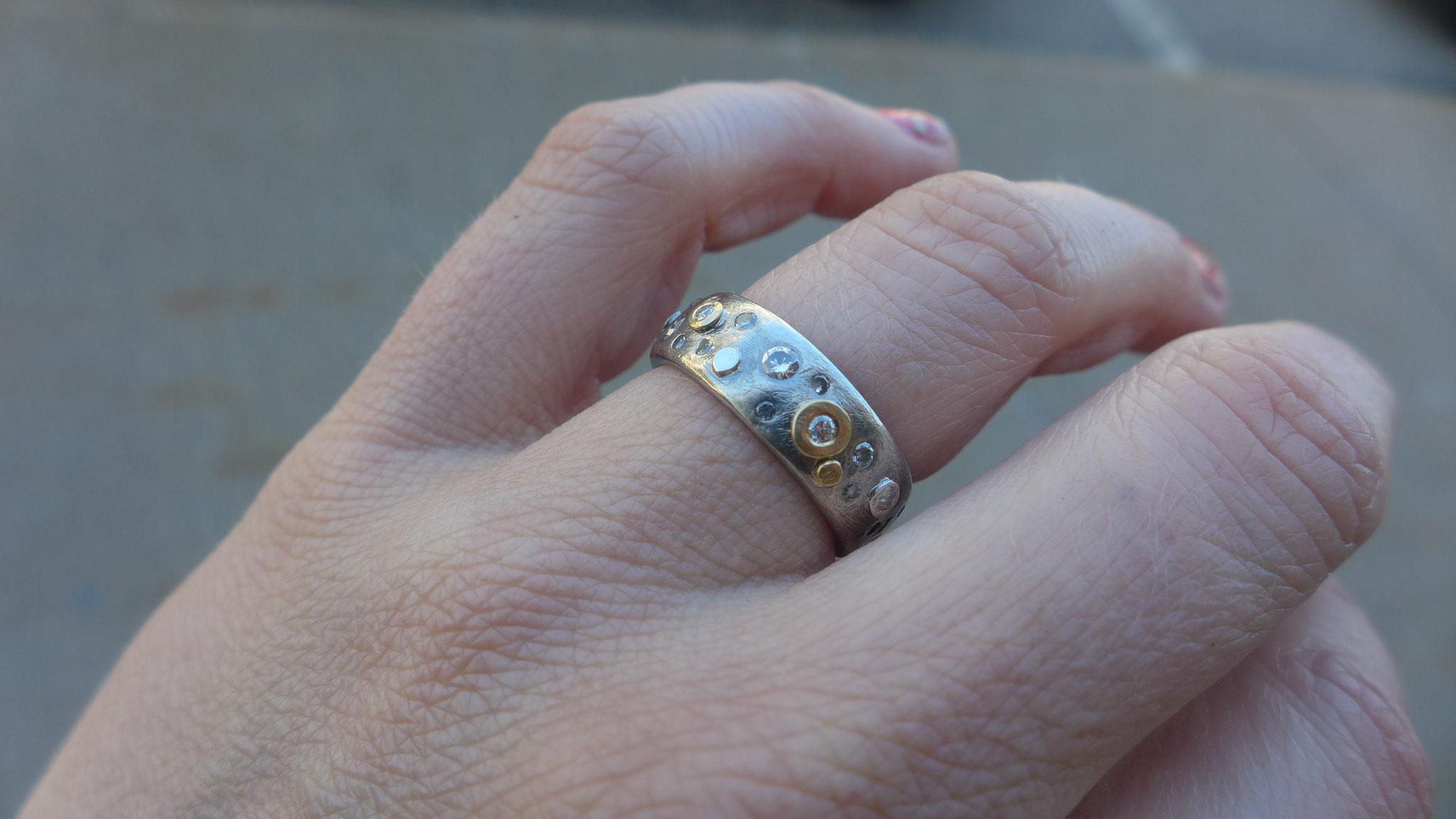 sterling silver, 18k gold, diamonds