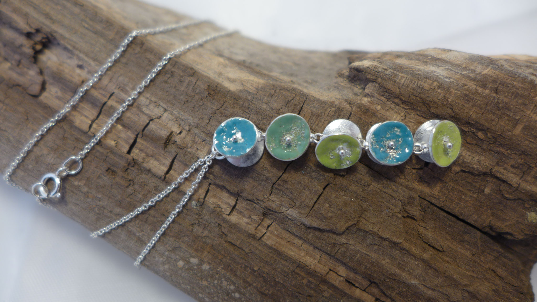 Sterling silver with enamel