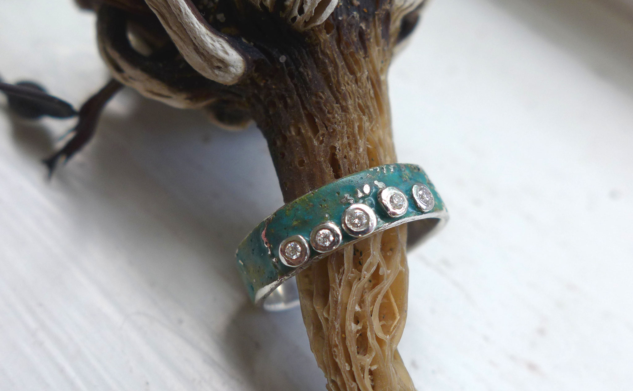 Enamel, sterling silver, diamonds