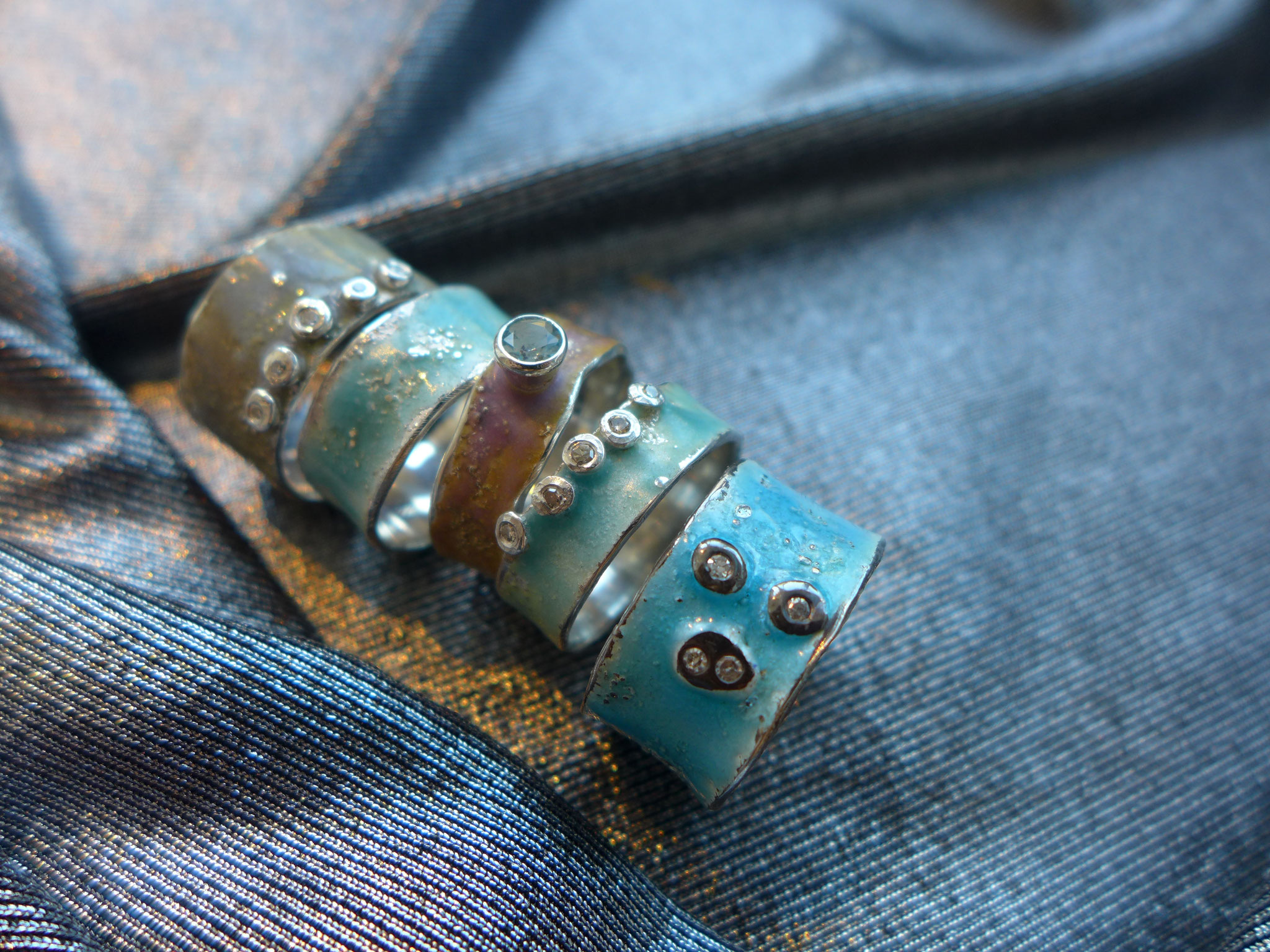 Sterling silver, antique diamonds, enamel