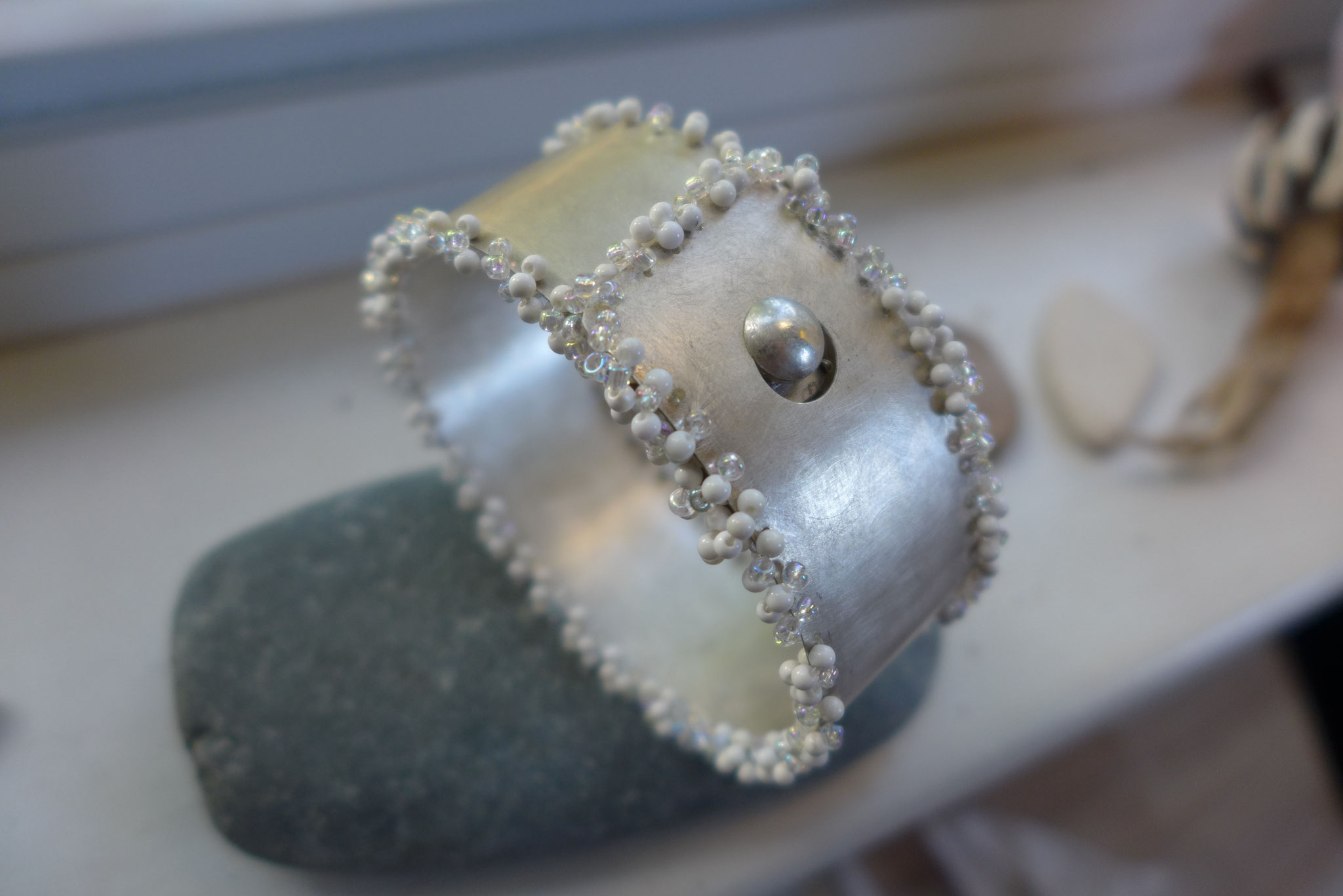 Bangle, sterling silver, glass beads