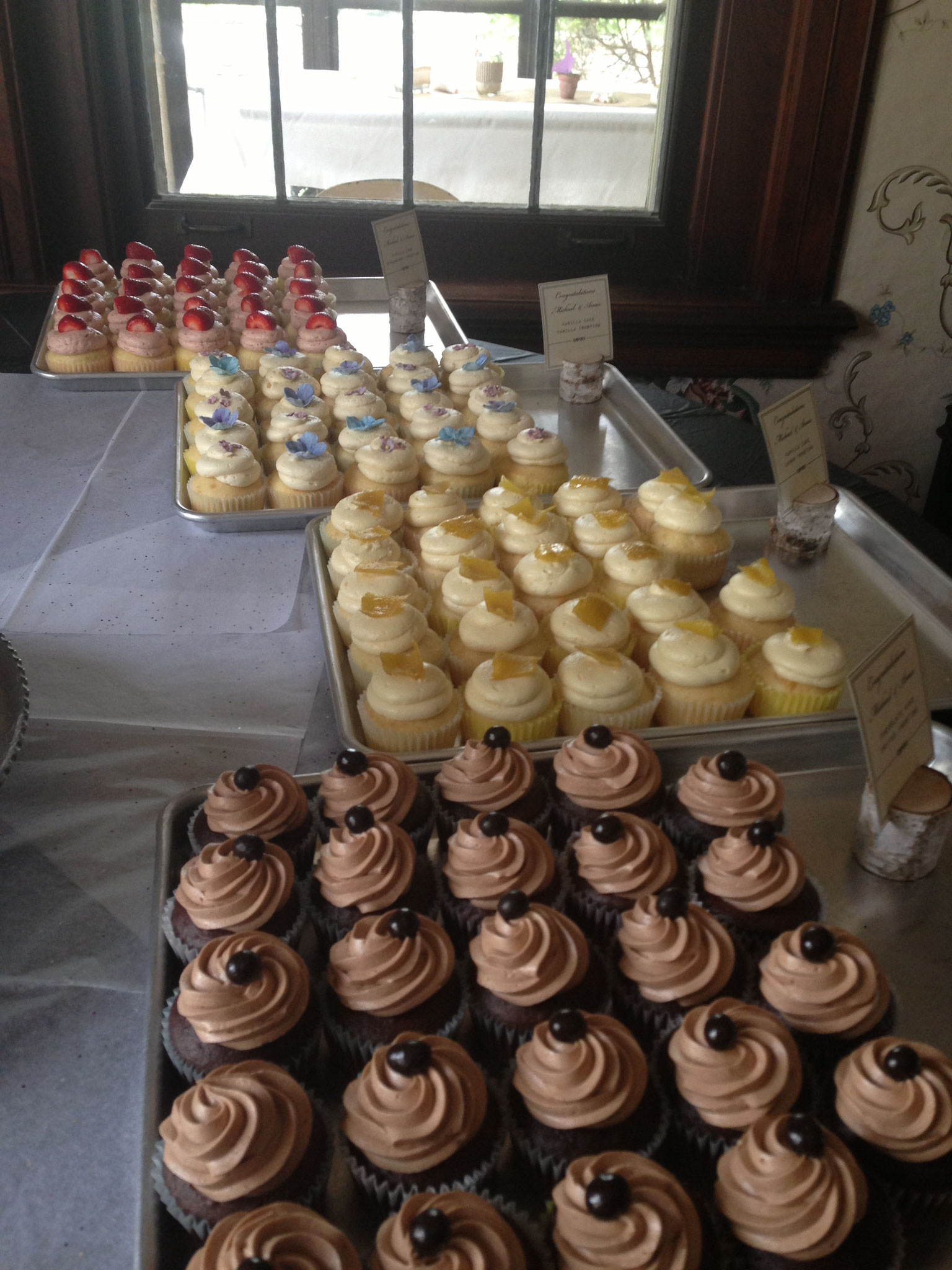 Assorted cupcakes for a wedding