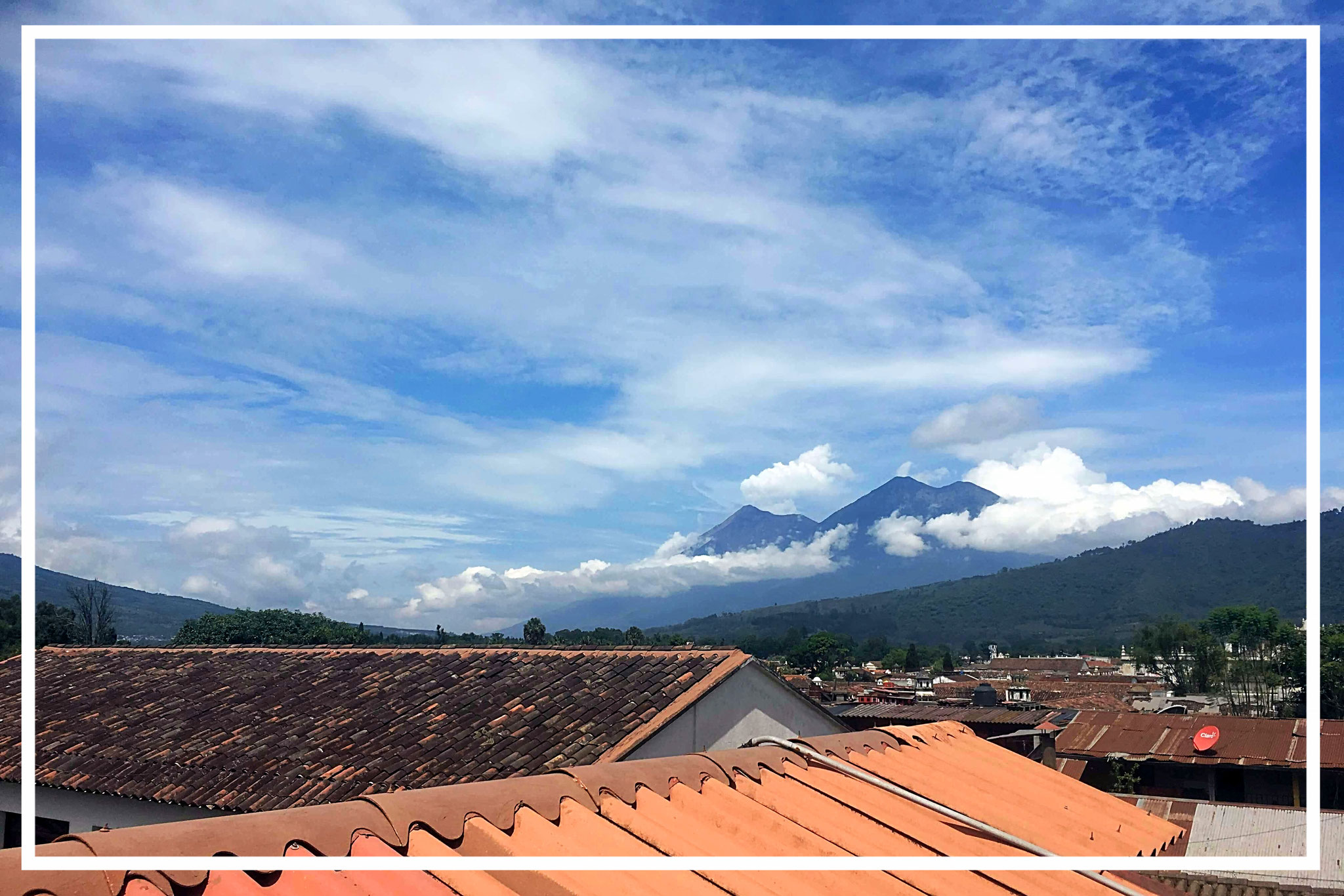 On the left is the volcano Fuego, which erupted on June 3rd 2018 ...