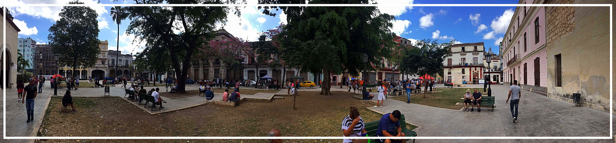 small park at the Plaza de Armas