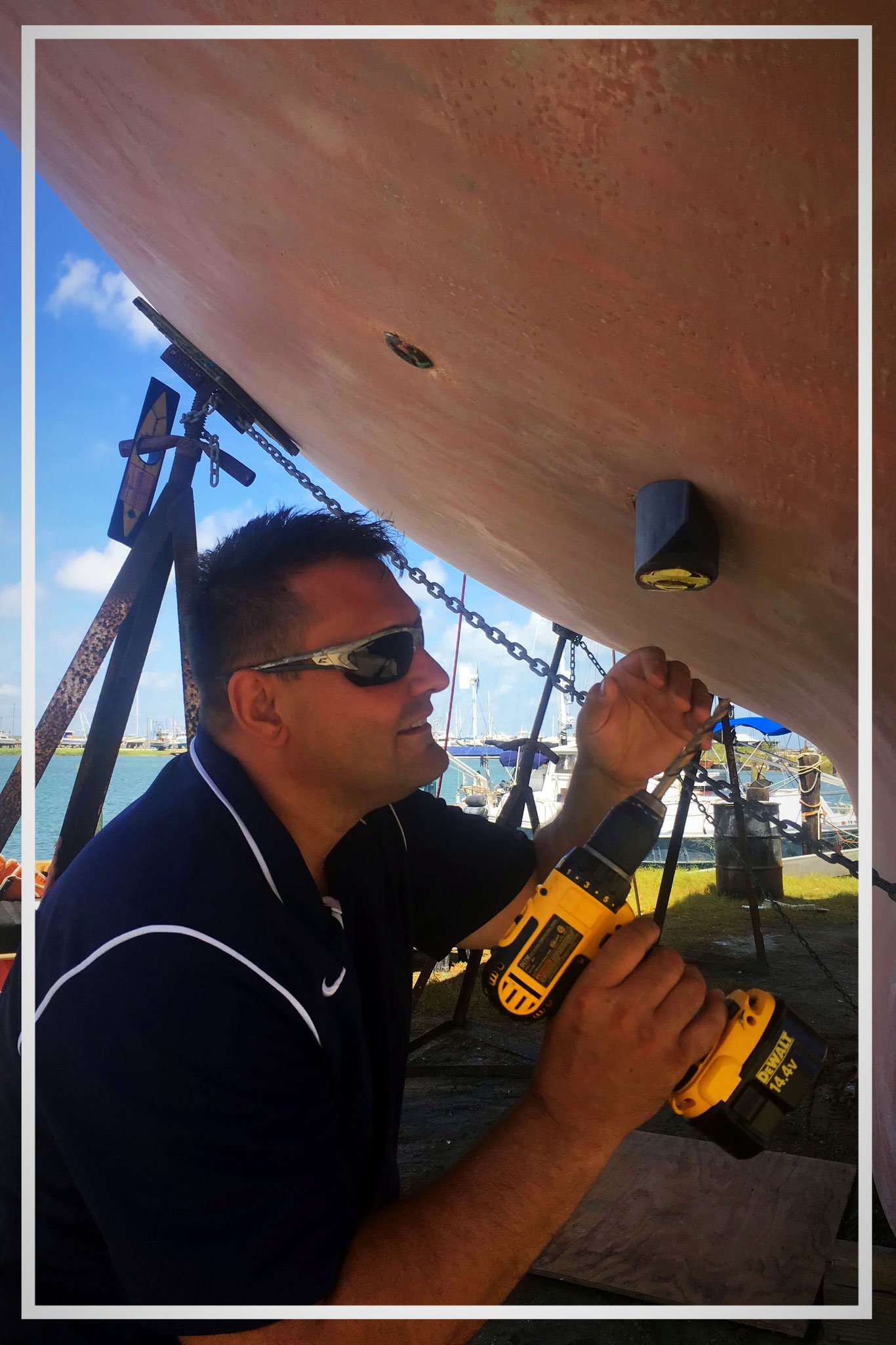 Installing the sonar, which provides data