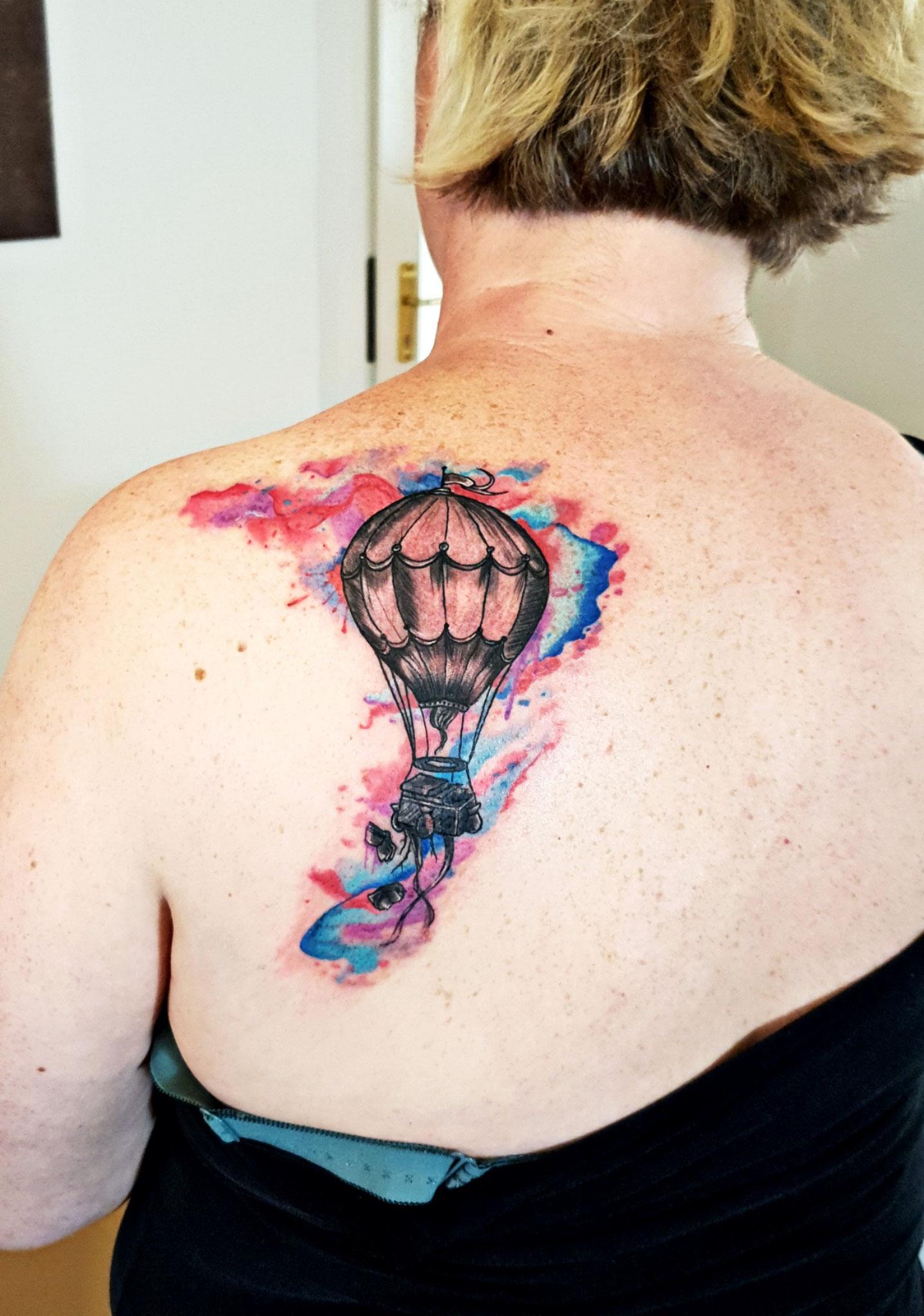 balloon watercolor tattoo