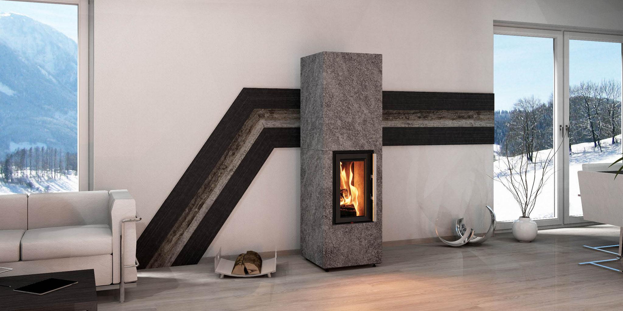 Wandgestaltung Monolith Fire Inside Natursteinöfen