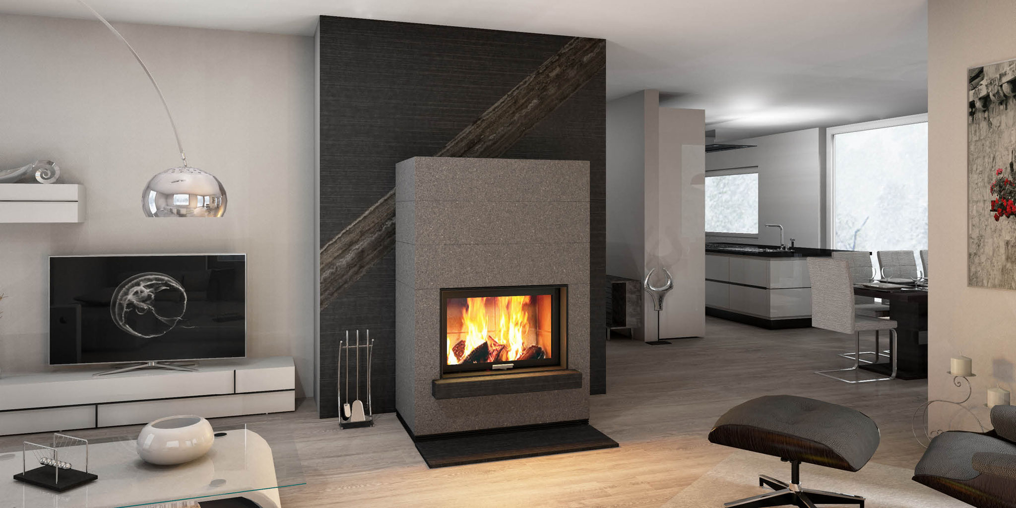 wandgestaltung monolith fire inside naturstein fen natursteinofen speicher kaminofen. Black Bedroom Furniture Sets. Home Design Ideas