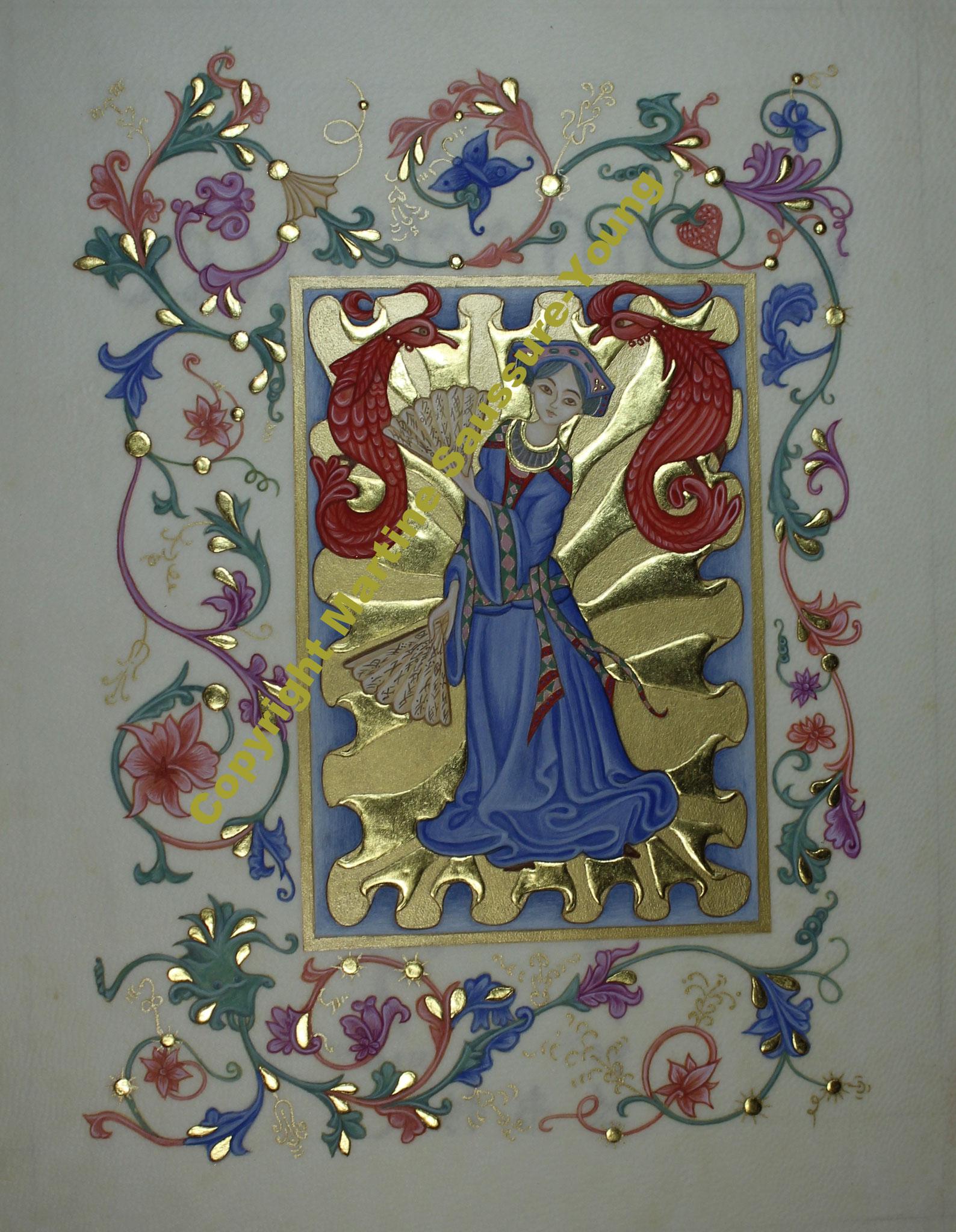 Pour l'hommage aux transmettrices, j'ai utilisé l'or en relief, l'or à la coquille, le lapis lazuli, la malachite et le cinabre