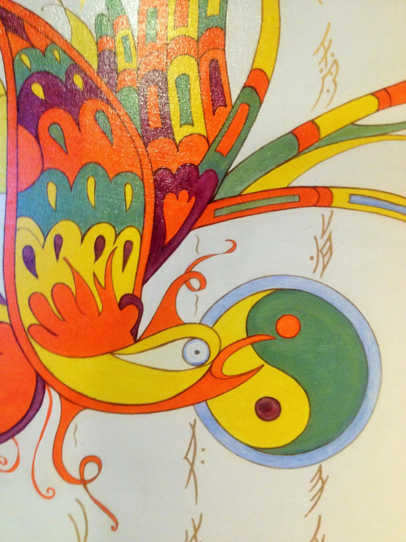 Oiseau Nüshu, acrylique, grand format, feuille d'or. Création Martine Saussure-Young