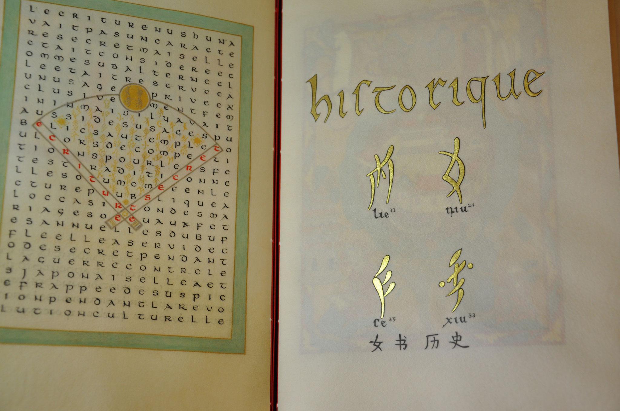 Une écriture secrète ? / Chapitre 3 sur l'historique du nüshu (en style d'enluminure roman)
