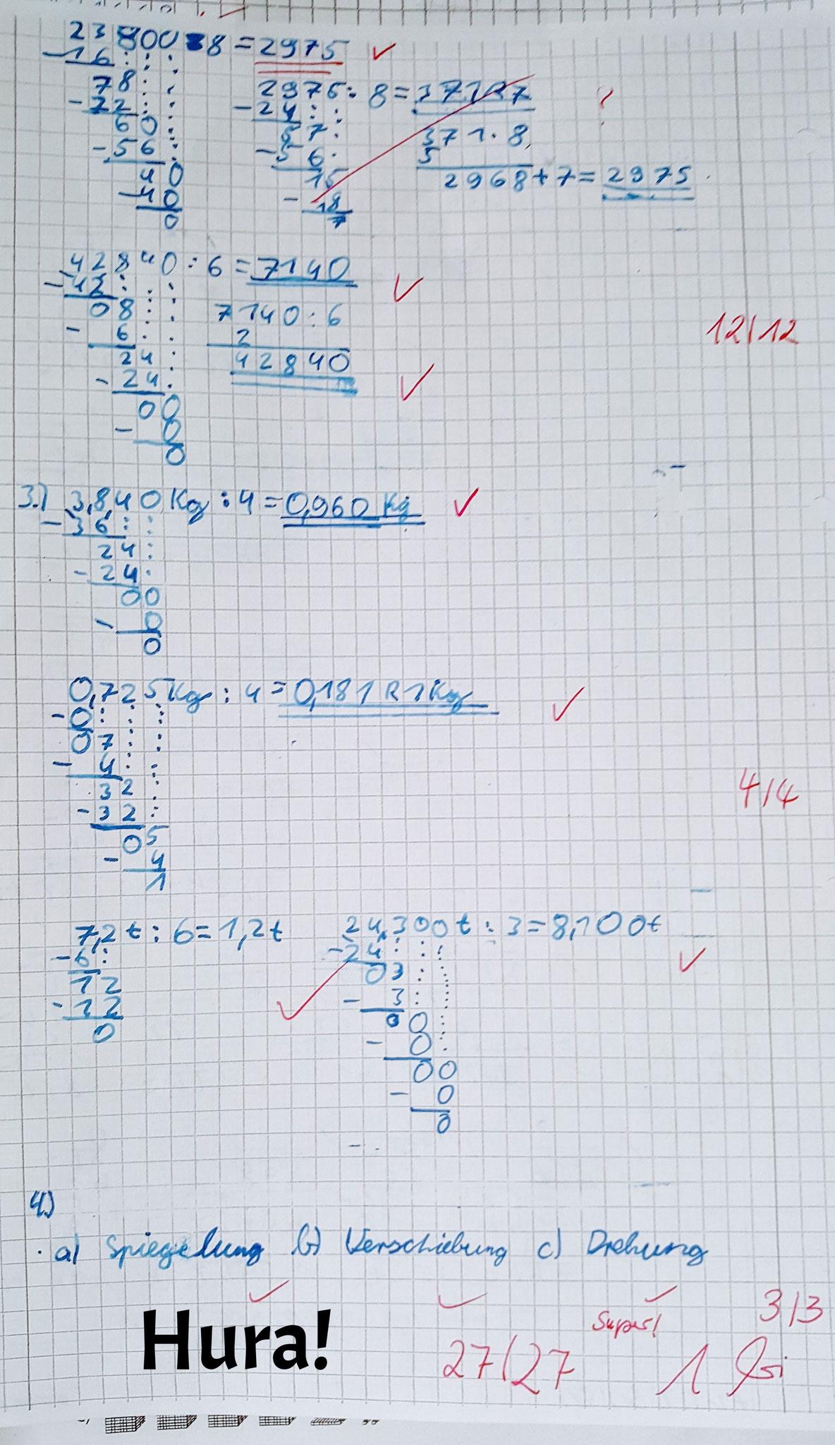 Schriftliche Division  - Alles richtig!