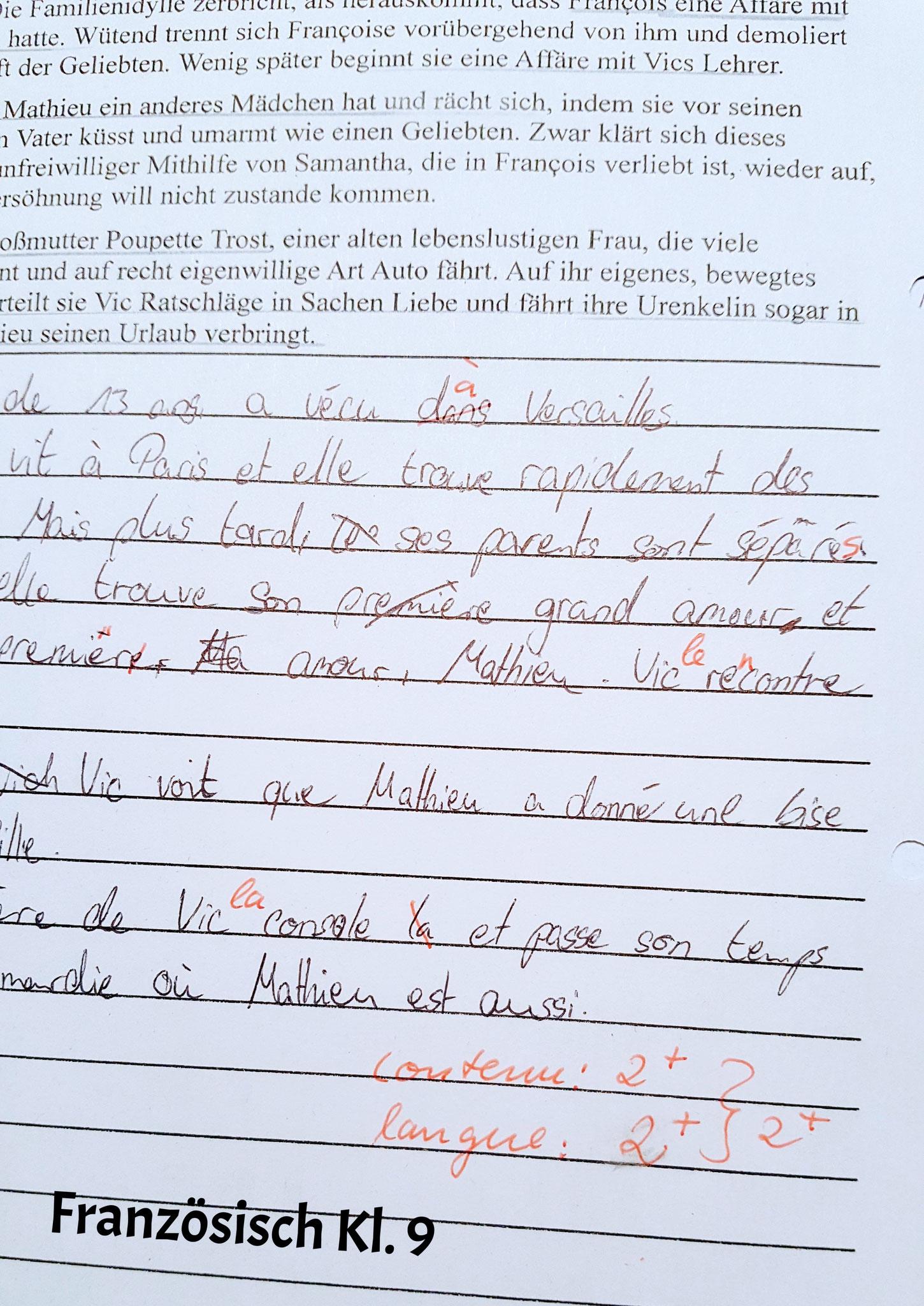 In Französisch Klasse 9 hat Cindy tolle 2+