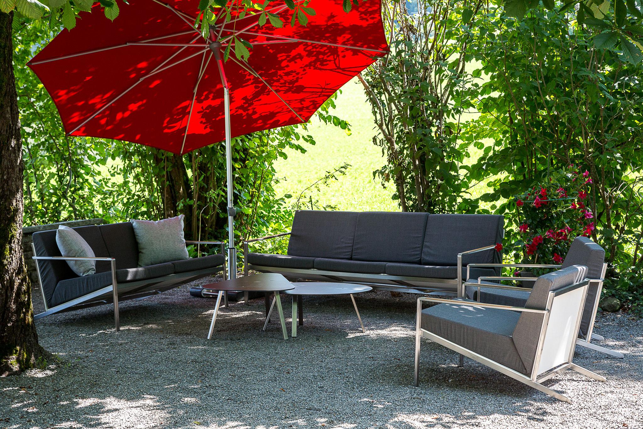 LUIZ Gulia Lounge Edelstahl mit Sunbrella Stoff