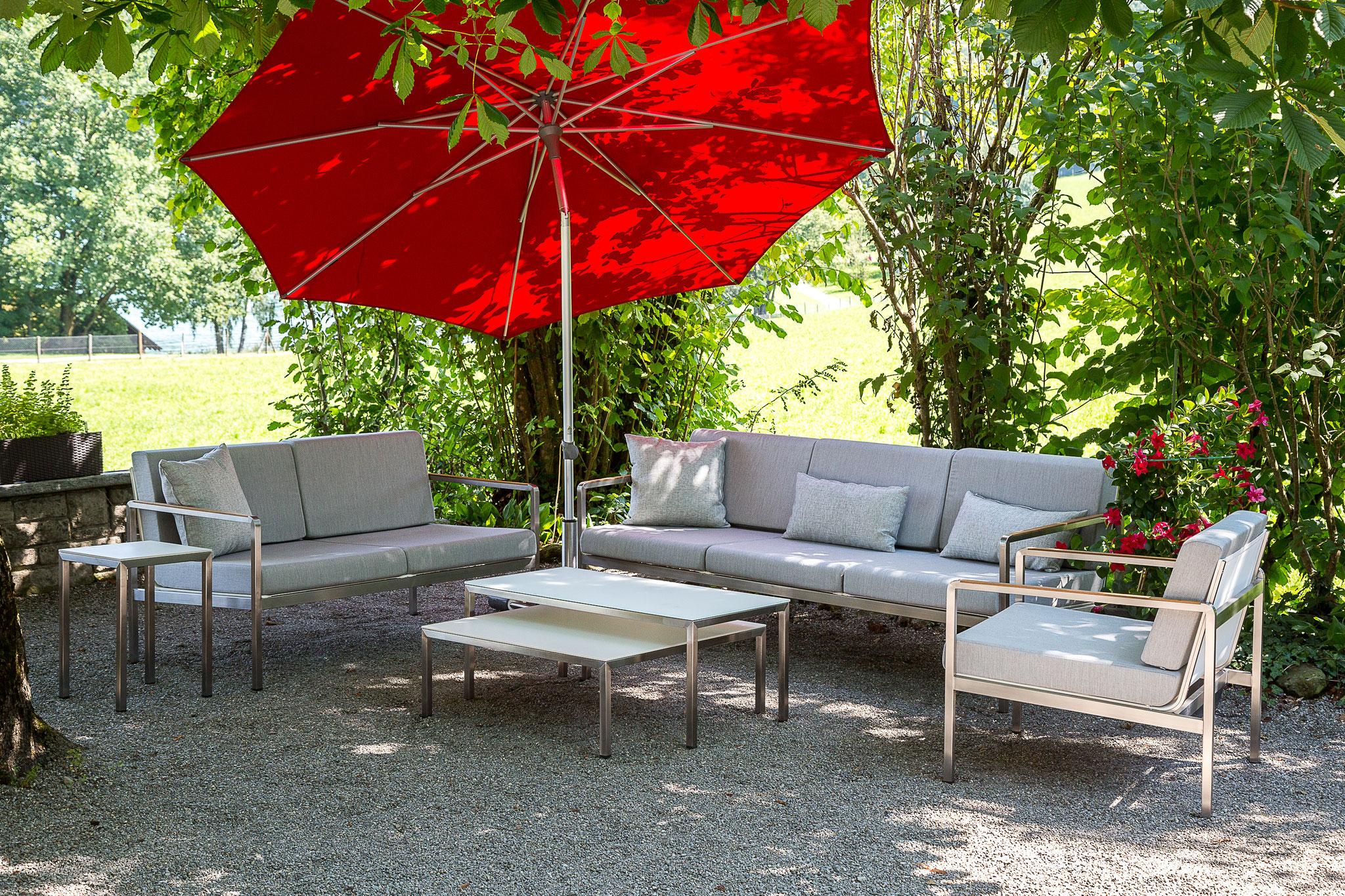 LUIZ Eliane Lounge Edelstahl mit Sunbrella Stoff