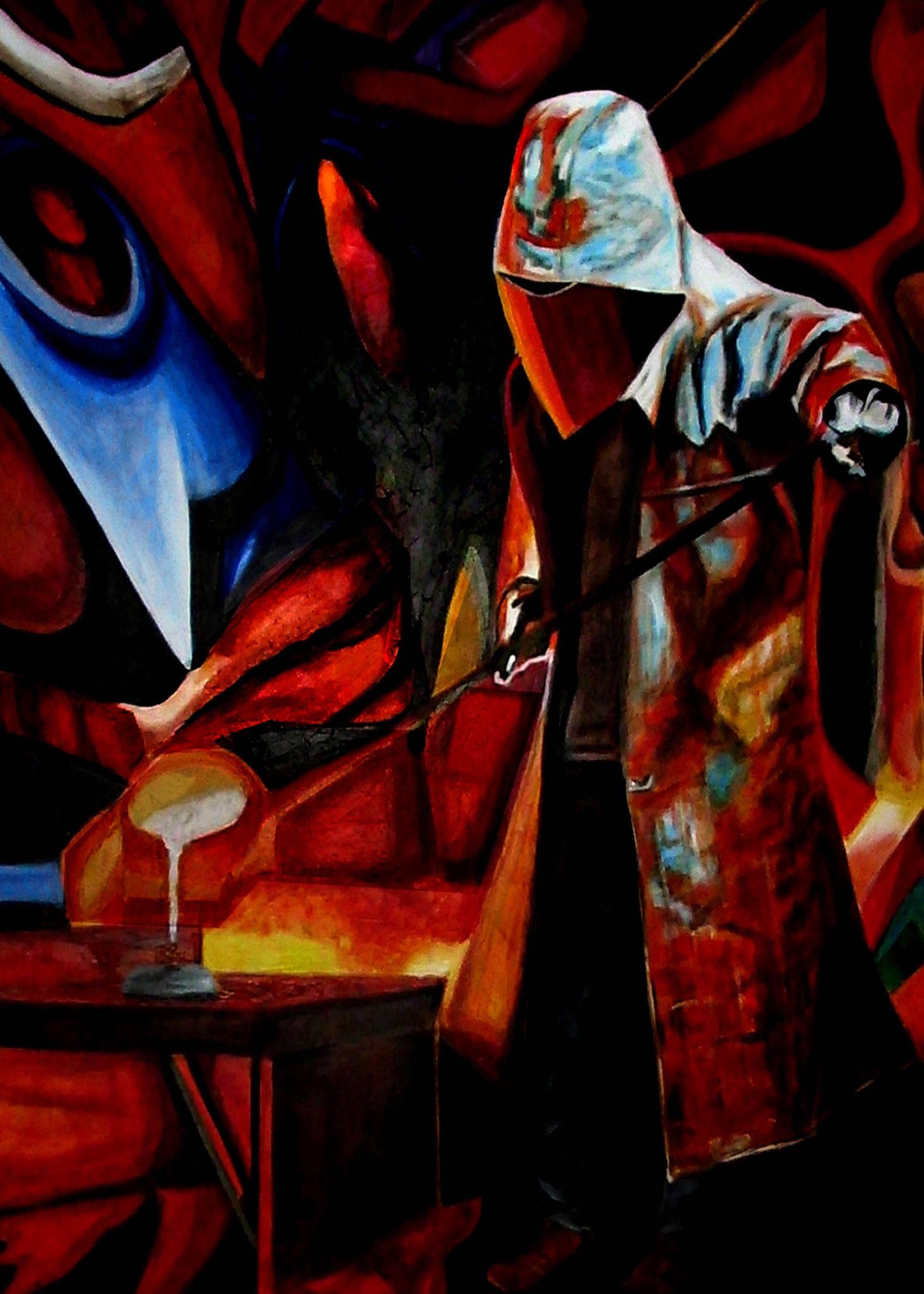 EISENGIESSER, Öl auf Leinwand, 120 x 100 cm