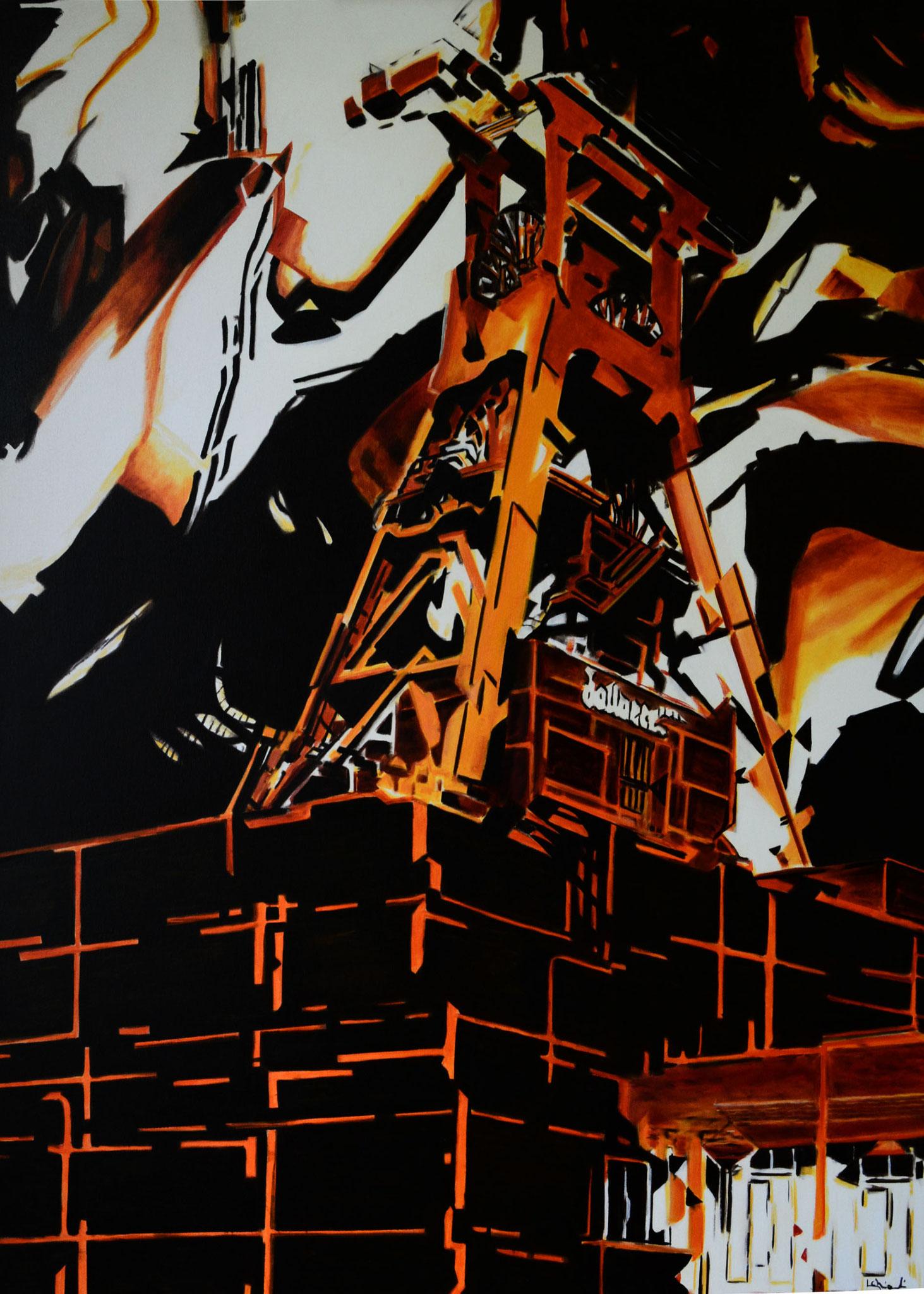 FÖRDERTURM, Öl auf Leinwand, 120 x 100 cm