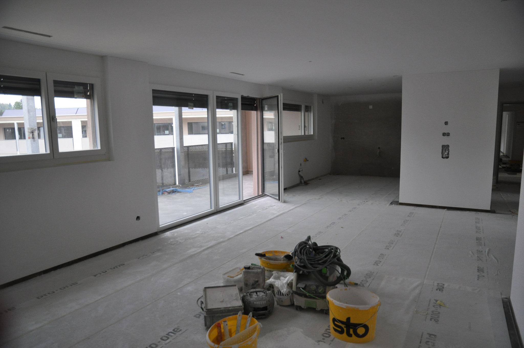 Innenausbau Wohnen/Essen/Küche 3,5 Zimmer Wohnung Einheit B (Mai 2016)