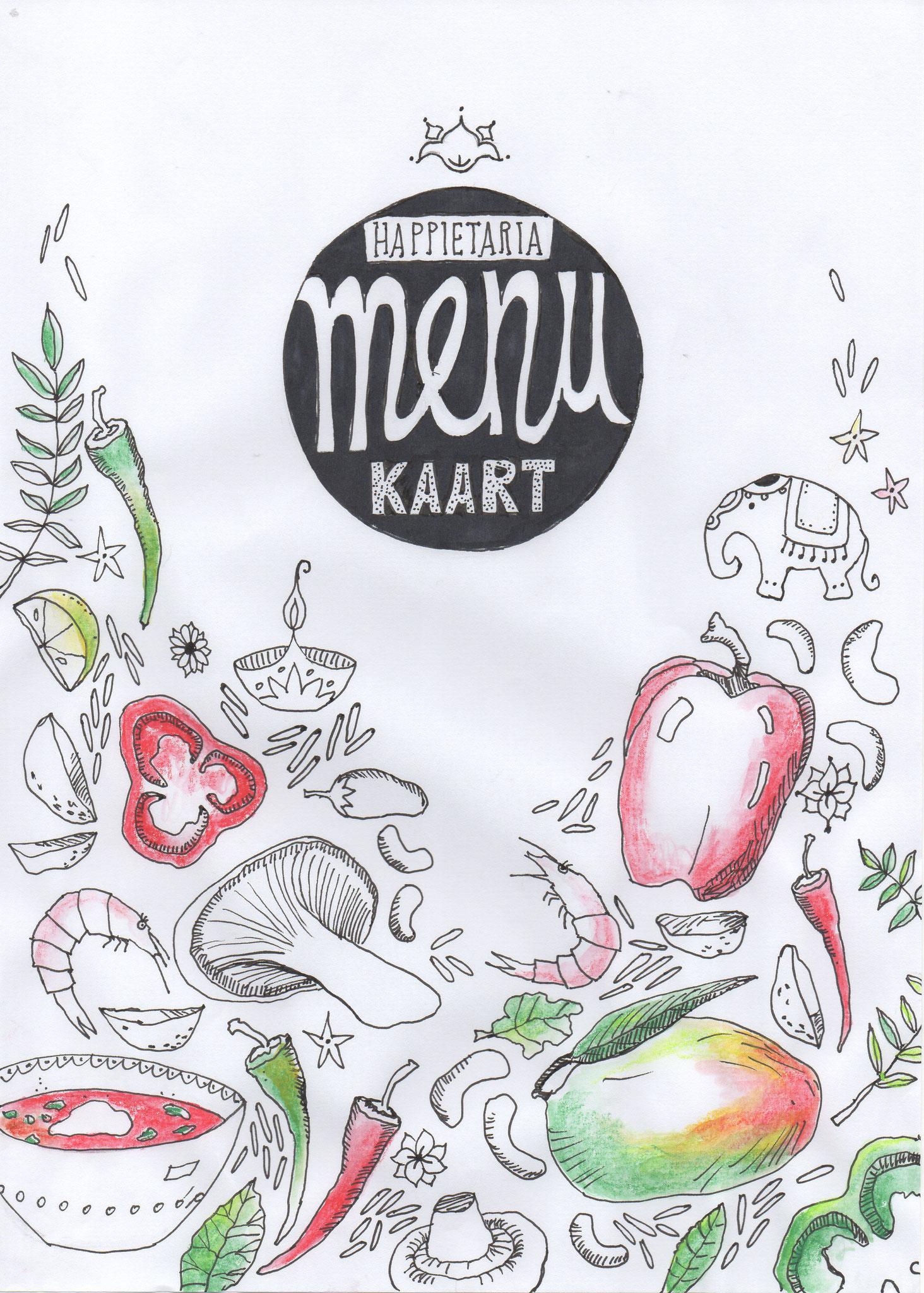 menukaart en meer getekend voor Happietaria Wageningen