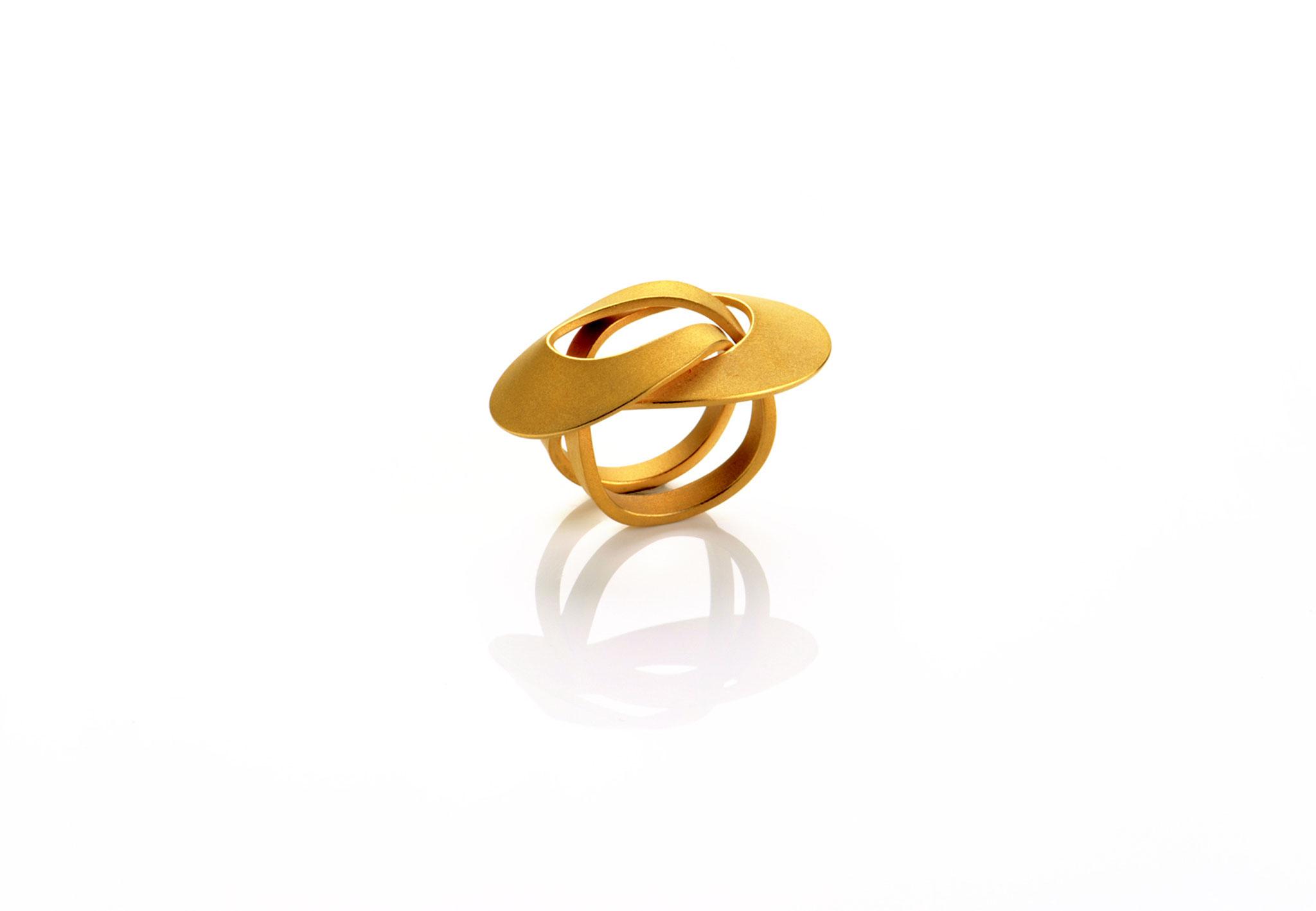 Wendepunkt Ring M3, 925/- Silber, 18ct goldplattiert