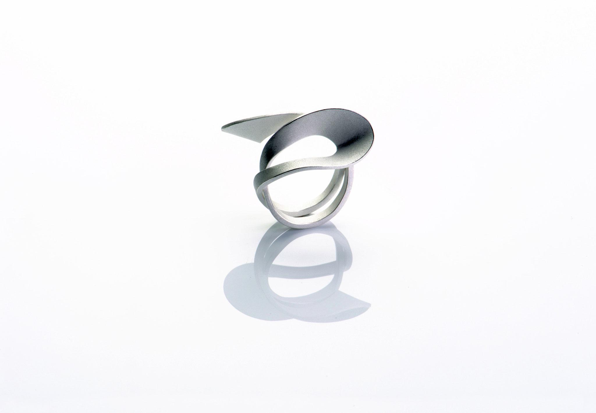 Wendepunkt Ring M4, 925/- Silber, weiß