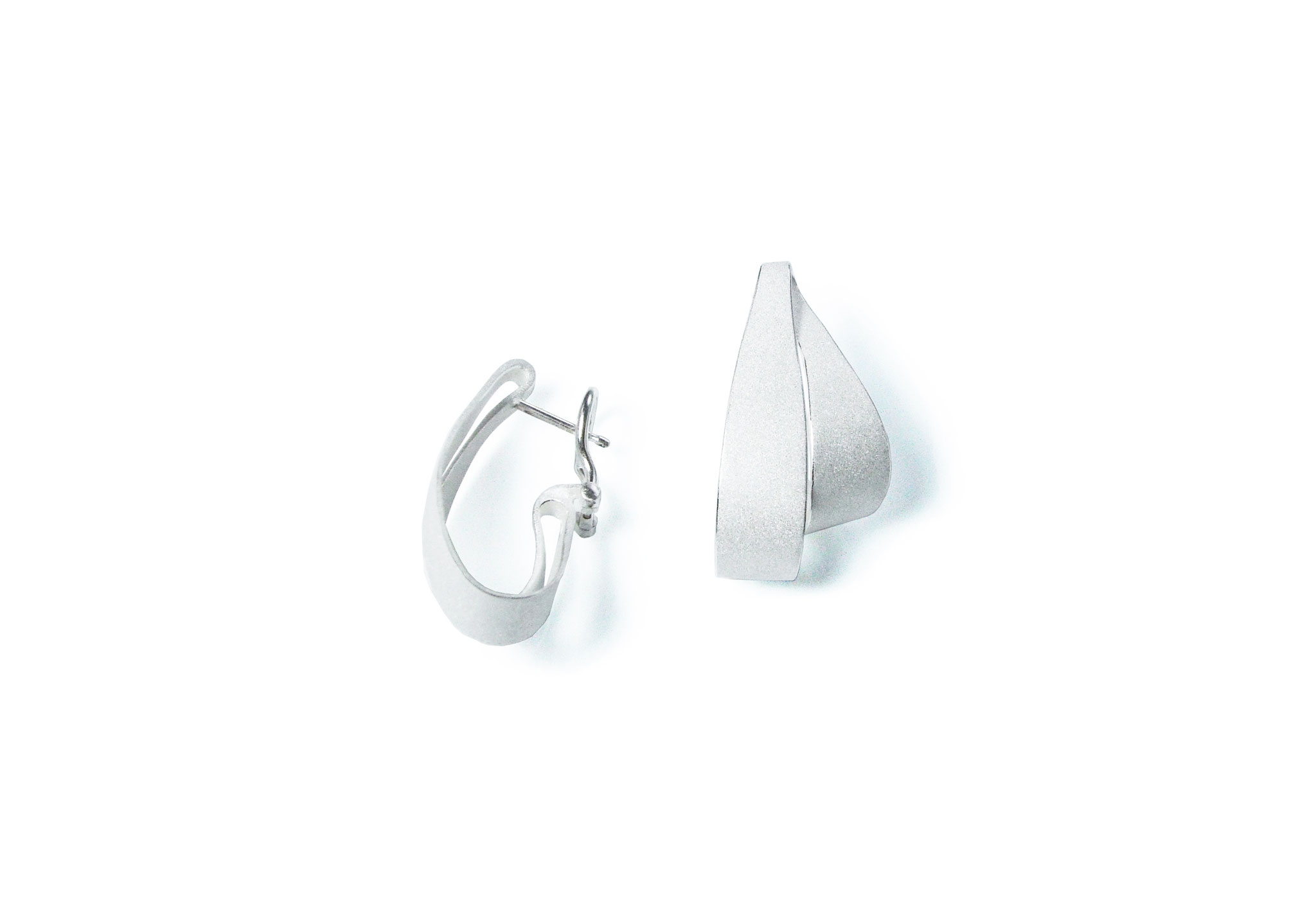 Wendepunkt Ohrschmuck - kleiner SteckerClip B, 925/- weiß