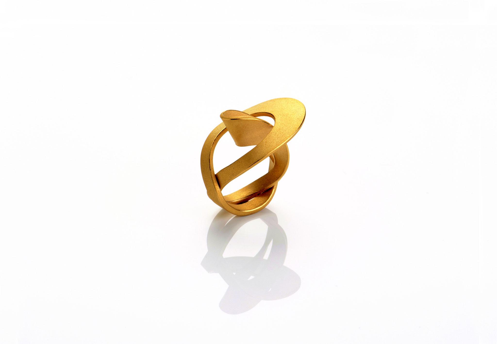 Wendepunkt Ring M5, 925/- Silber, 18ct goldplattiert
