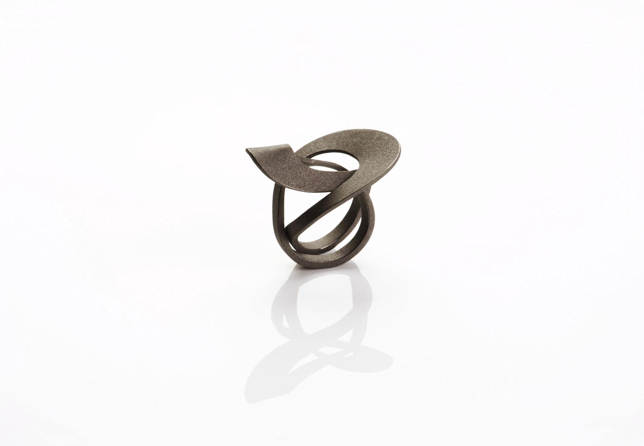 Wendepunkt Ring M6, 925/- Silber, schwarz-rhodiniert
