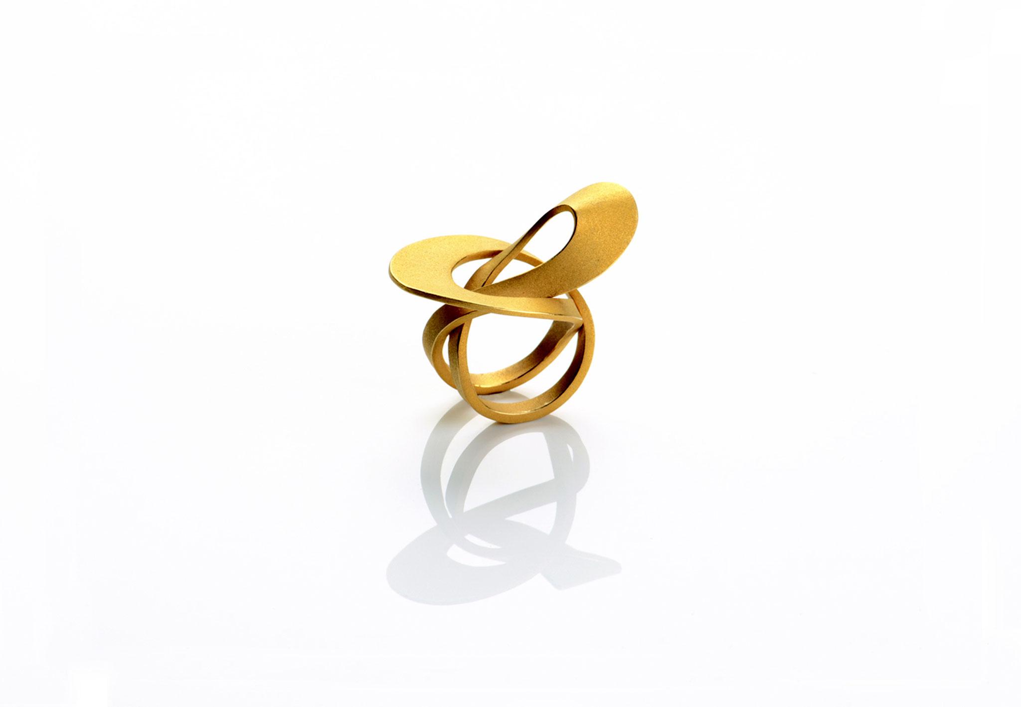 Wendepunkt Ring M6, 925/- Silber, 18ct goldplattiert