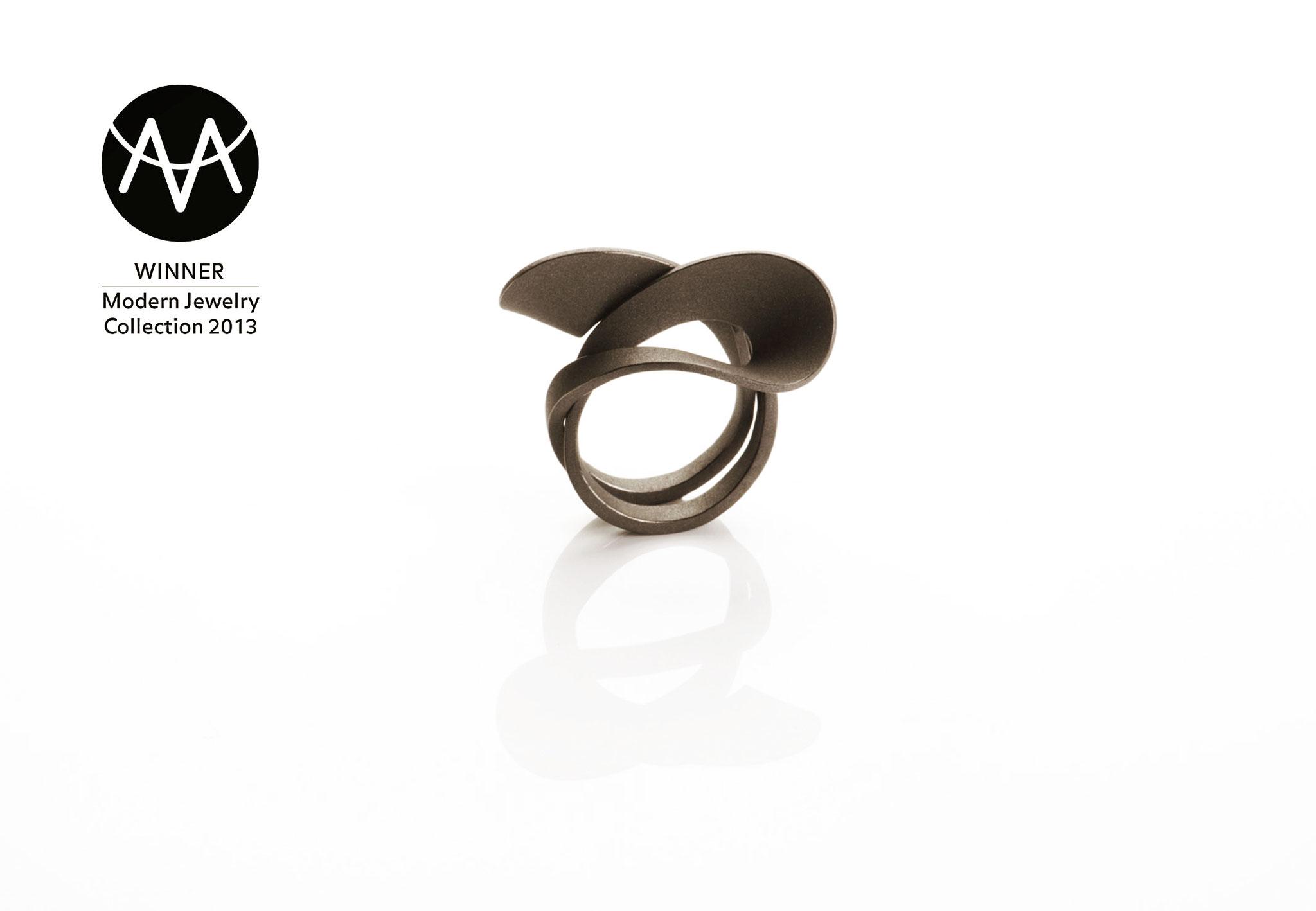 Wendepunkt Ring M4, 925/- Silber, schwarz-rhodiniert