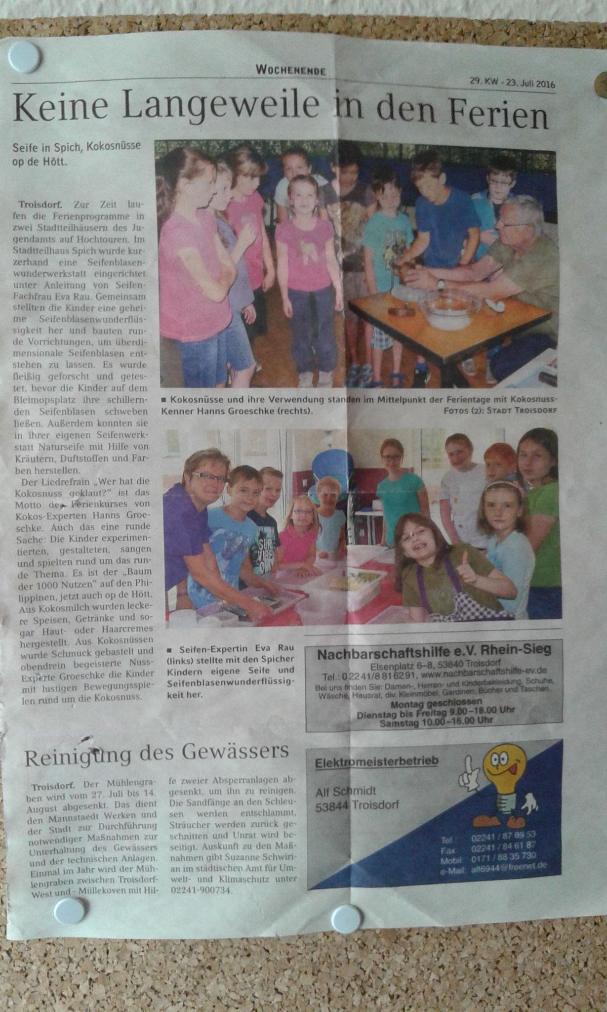 Bild Sommer Troisdorf Zeitungs Artikel
