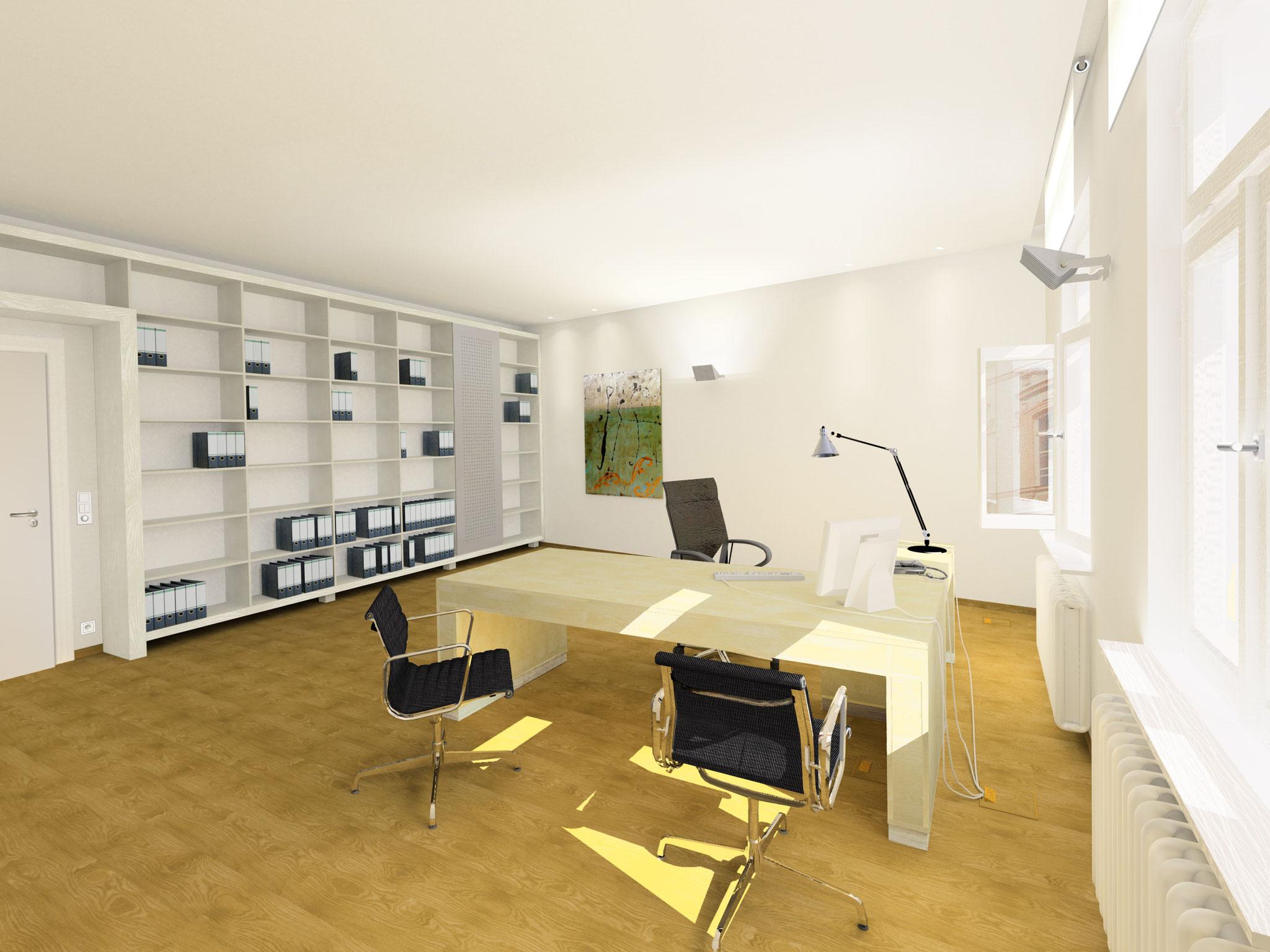 Büroraum inkl. Möbeldesign nach Sanierung und Teilentkernung