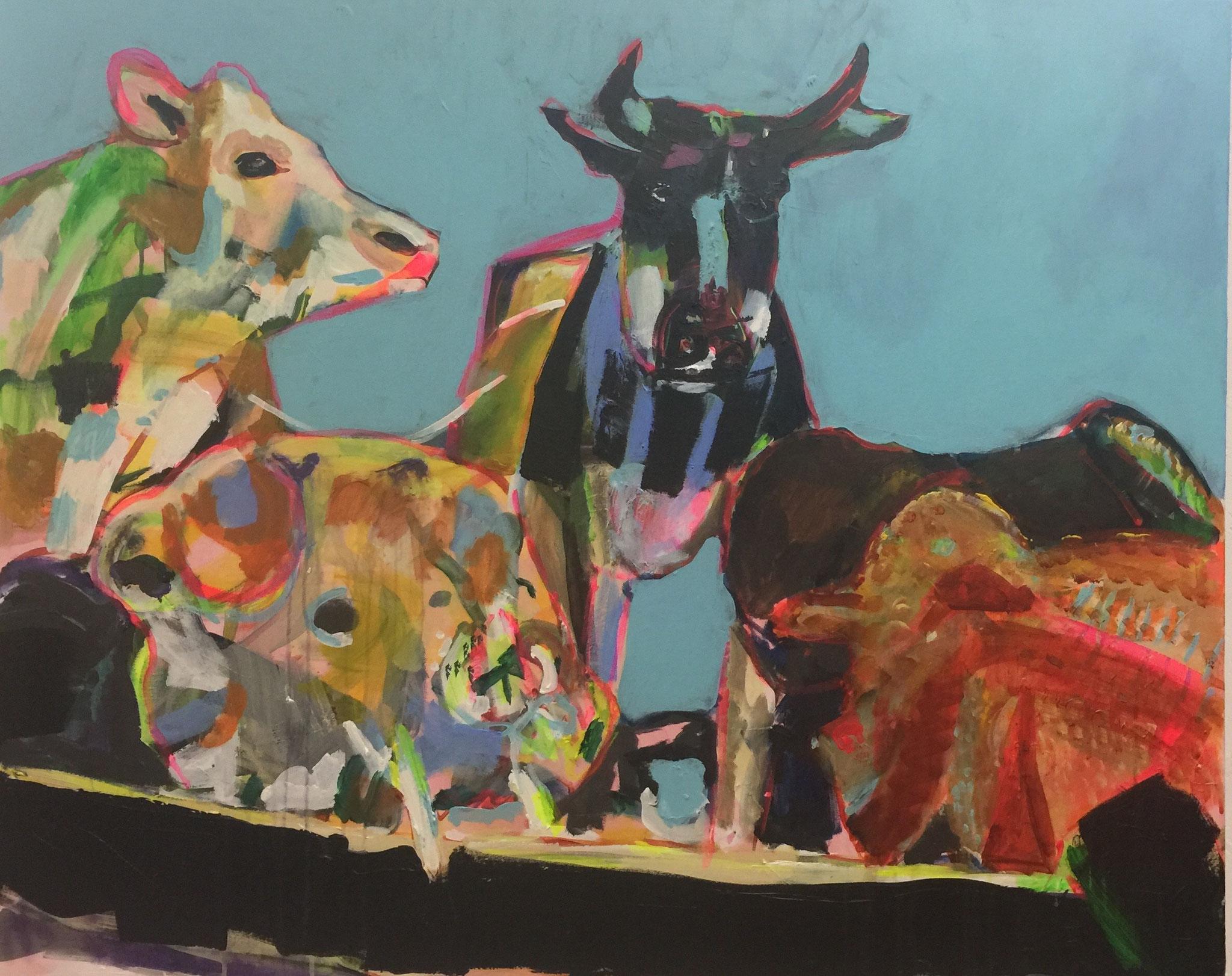 Stillleben mit Kuh 3, 100x120,  acrylic on canvas