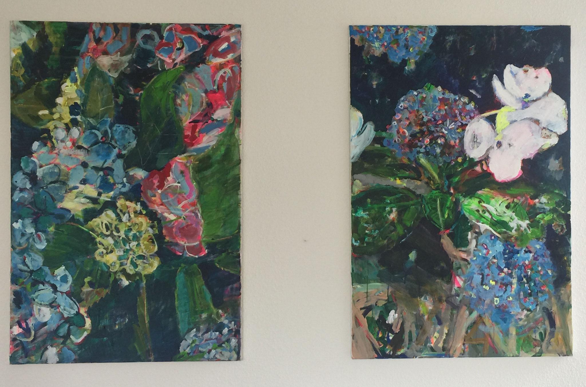 Hortensien 2 und 3,  je 120x80,  acrylic on canvas
